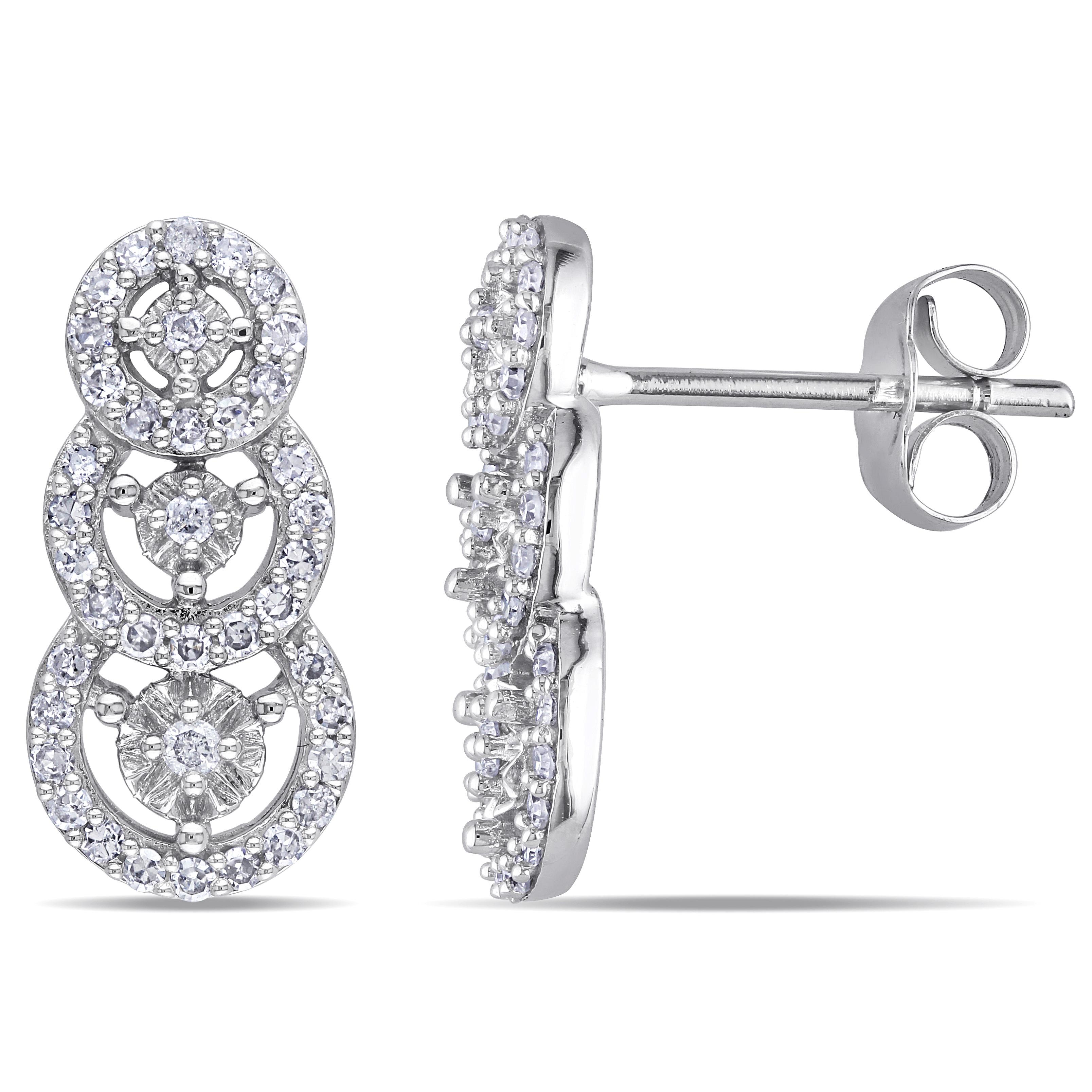 0.33 CTTW 10k White Gold Diamond Multi Circle Earrings (G-H, I2-I3)