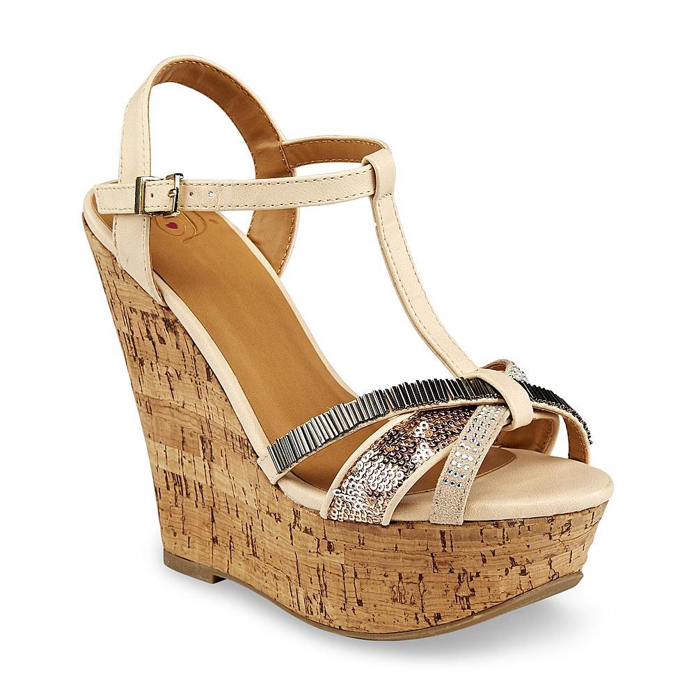 Delicious Women's Gemeza Tan/Gold T-Strap Wedge Sandal