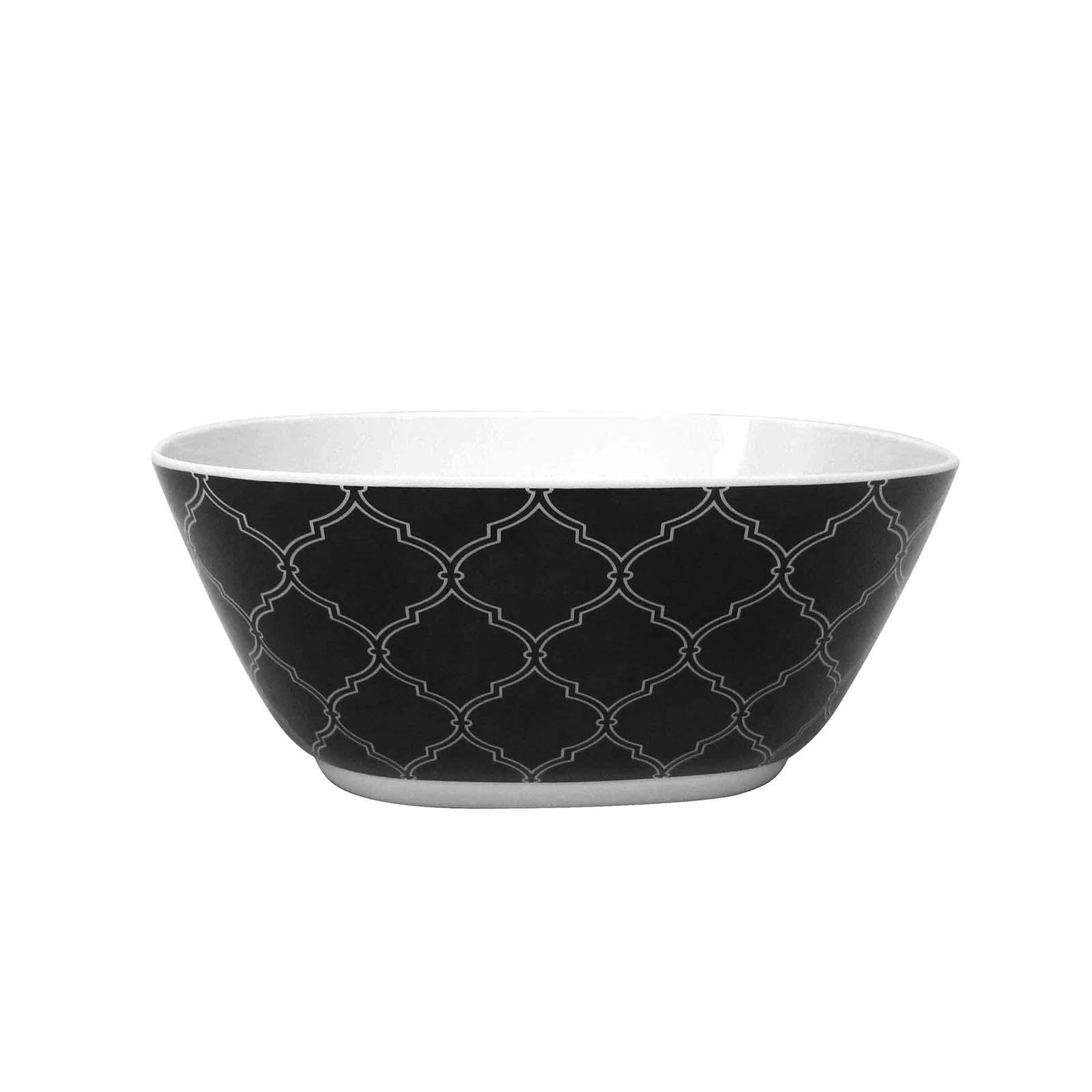 Melamine Square Bowl – Black Geo