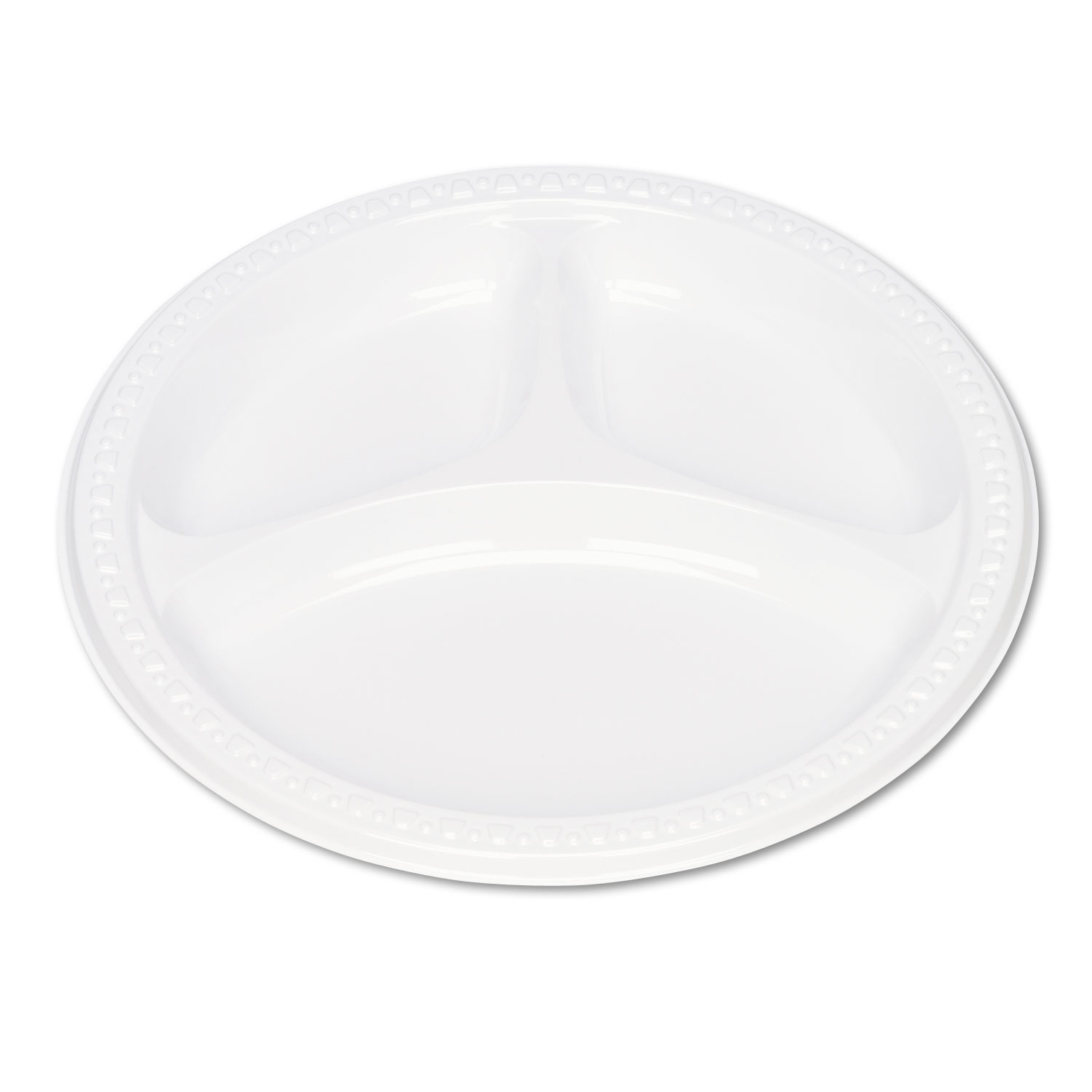 Tablemate TBL19644WH Plastic Dinnerware, Compartment Plates, 9