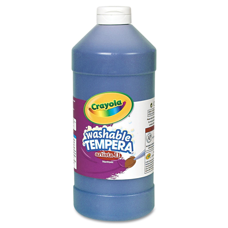 Crayola Artista II Washable Tempera Paint, Blue, 32 oz PartNumber: 05085513000P KsnValue: 4744207 MfgPartNumber: CYO543132042