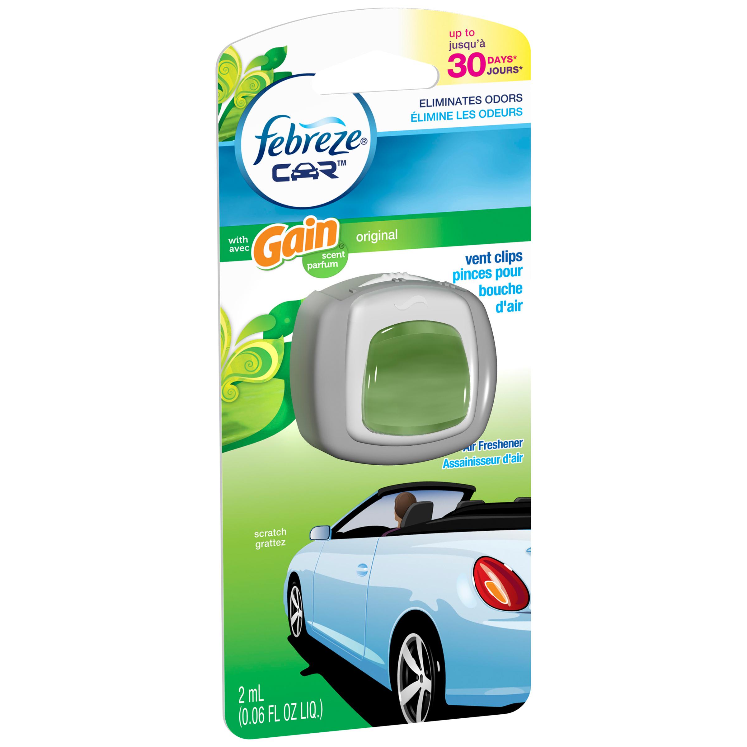 Febreze CAR Vent Clip with Gain Original Air Freshener 1 Count, 2 mL PartNumber: 029W001313192001P KsnValue: 1313192 MfgPartNumber: 94721