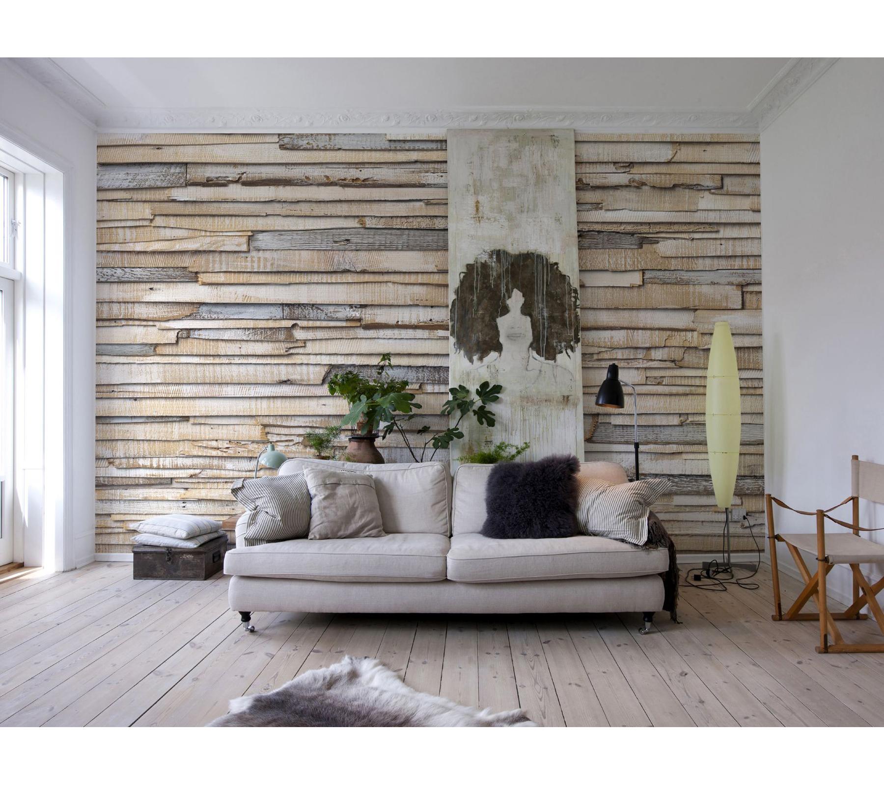Komar Whitewashed Wood Wall Mural