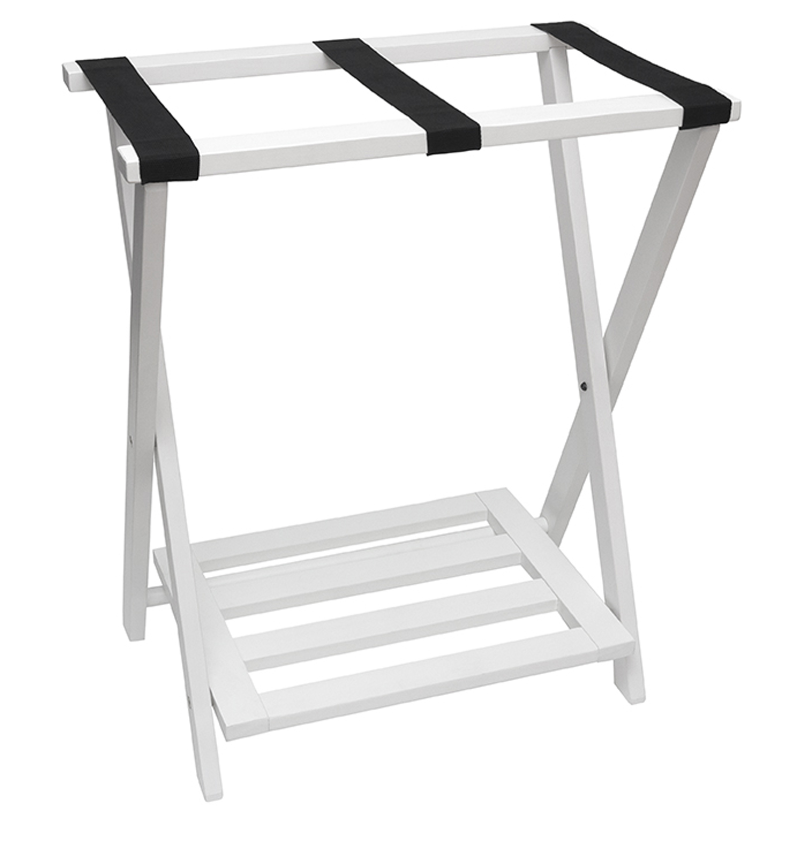 Lipper Right Height Luggage Rack with Shoe Rack - White finish