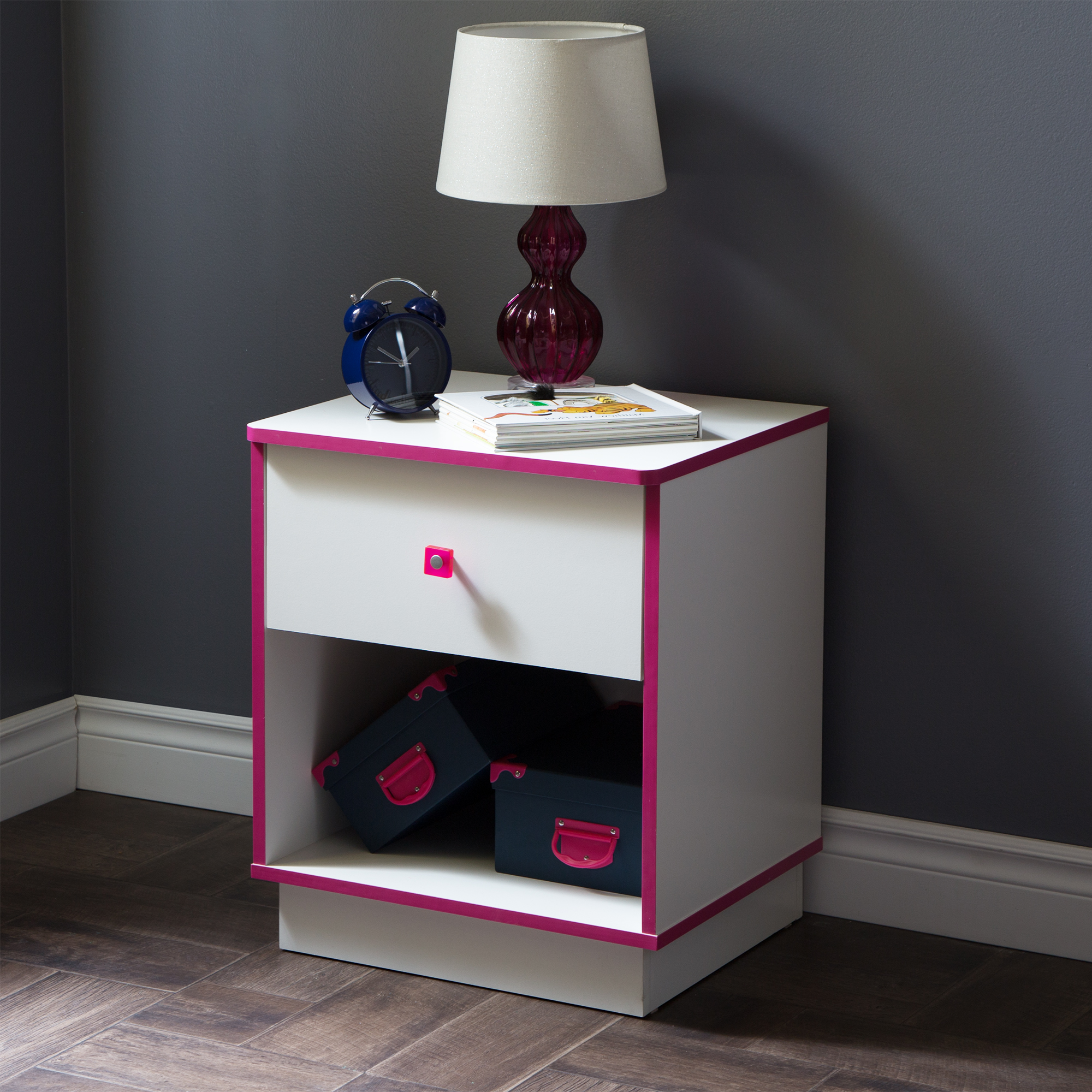 south shore logik 1drawer nightstand pure white and pink