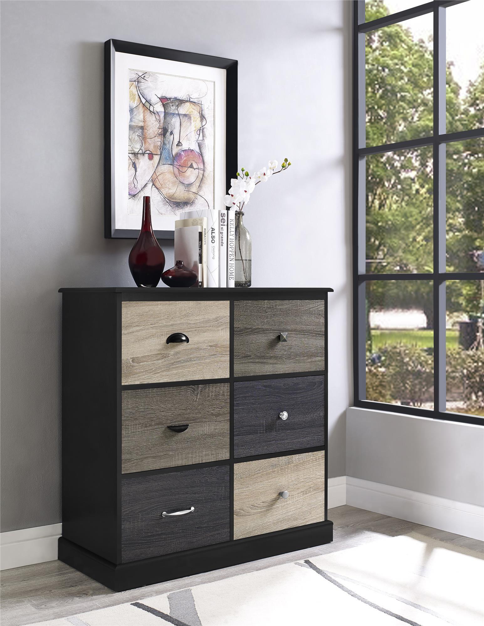 Dorel Home Furnishings Blackburn Black 6-door Storage Cabinet with Multicolored Door Fronts