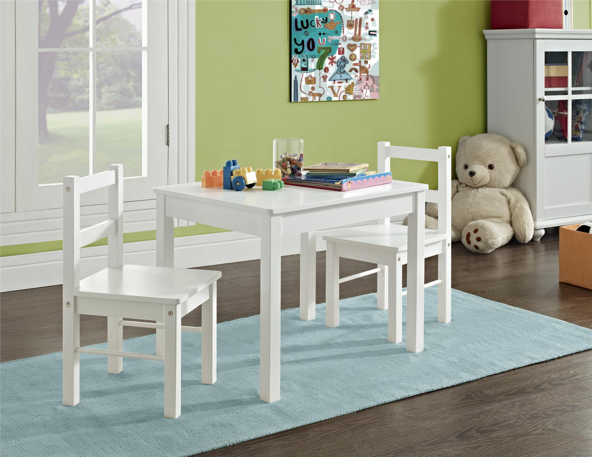 Dorel Home Furnishings Hazel Kids White Table and Chair Set- 3 piece ...