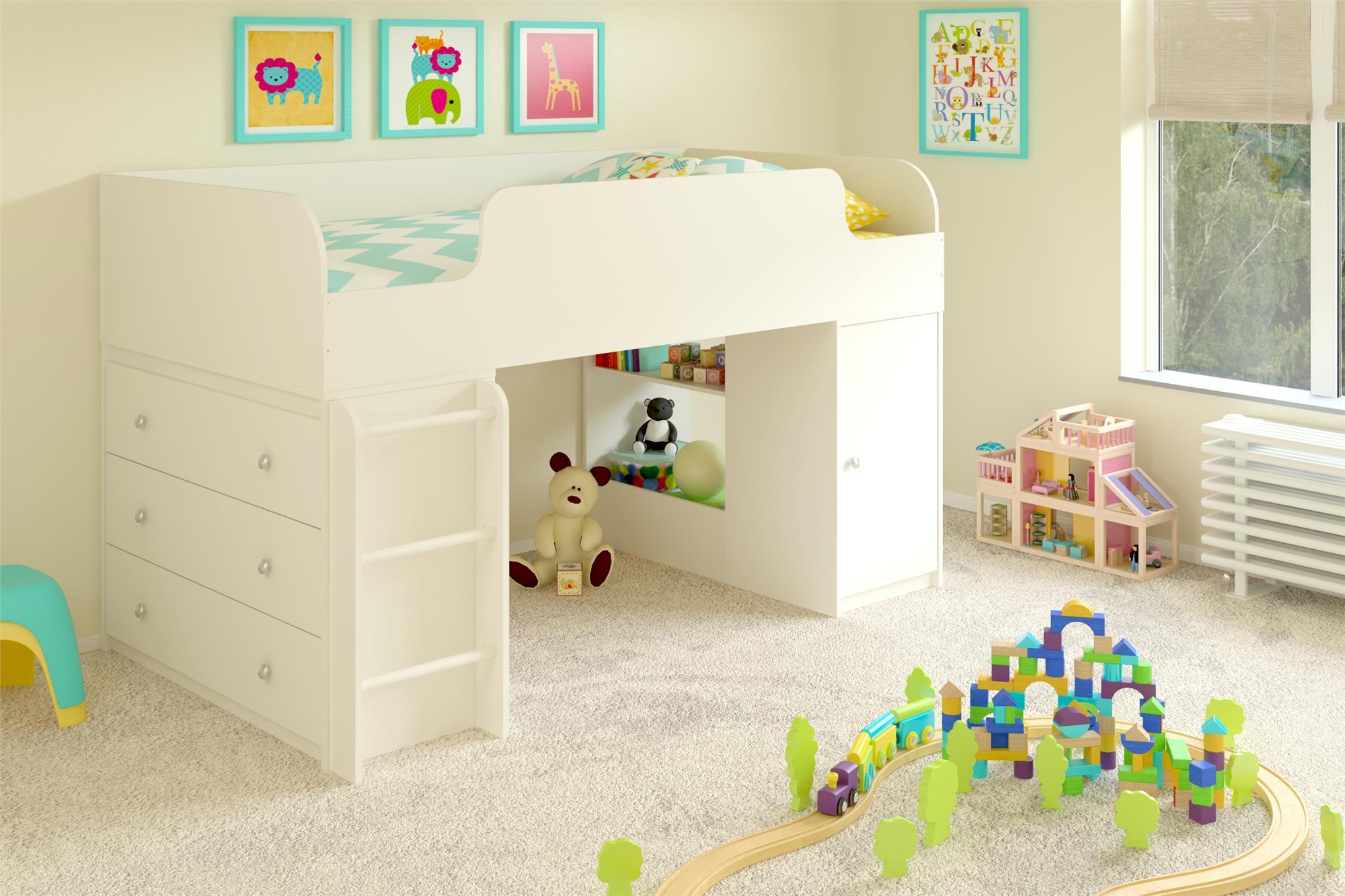 Dorel Home Furnishings Elements White Stipple Loft Bed with 3-Drawer Dresser and Toy Box Bookcase