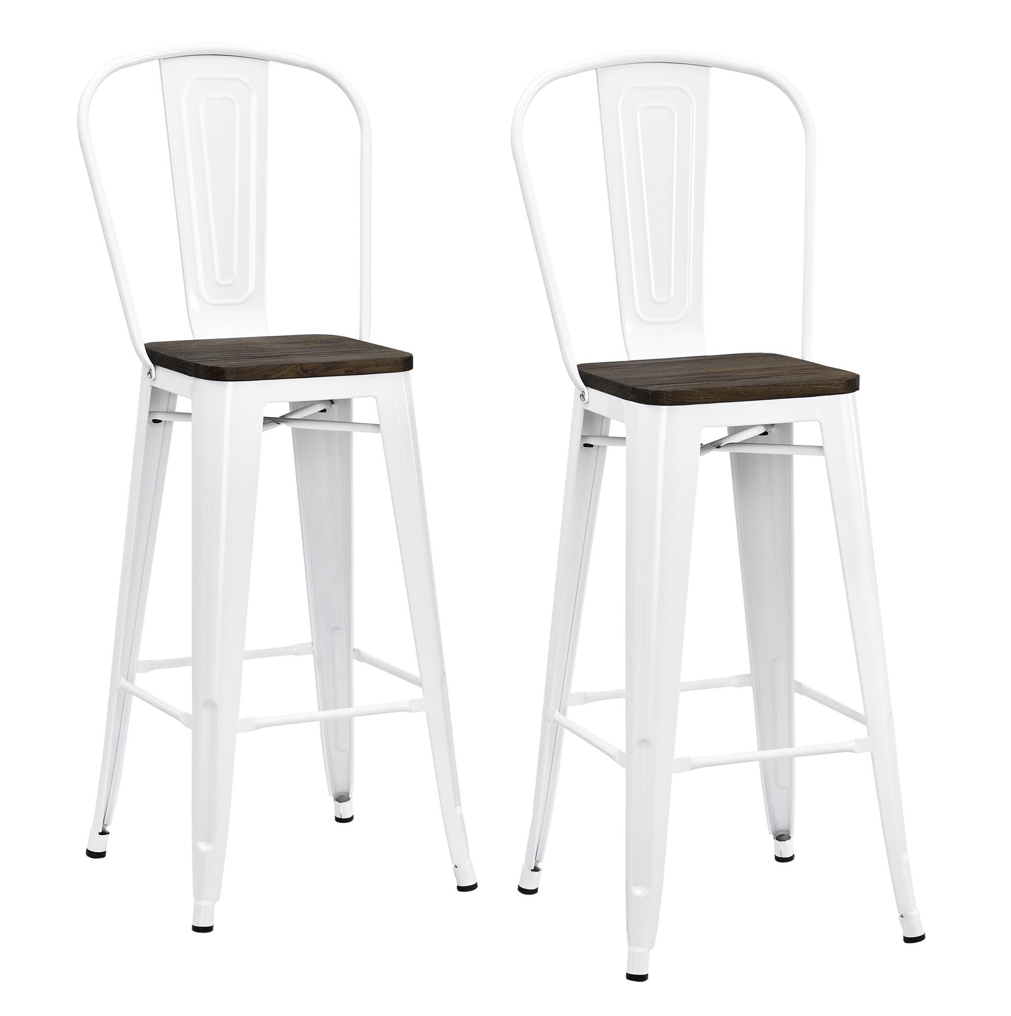 "Dorel Luxor White 30"" Metal Bar Stool with Wood Seat Set of 2"