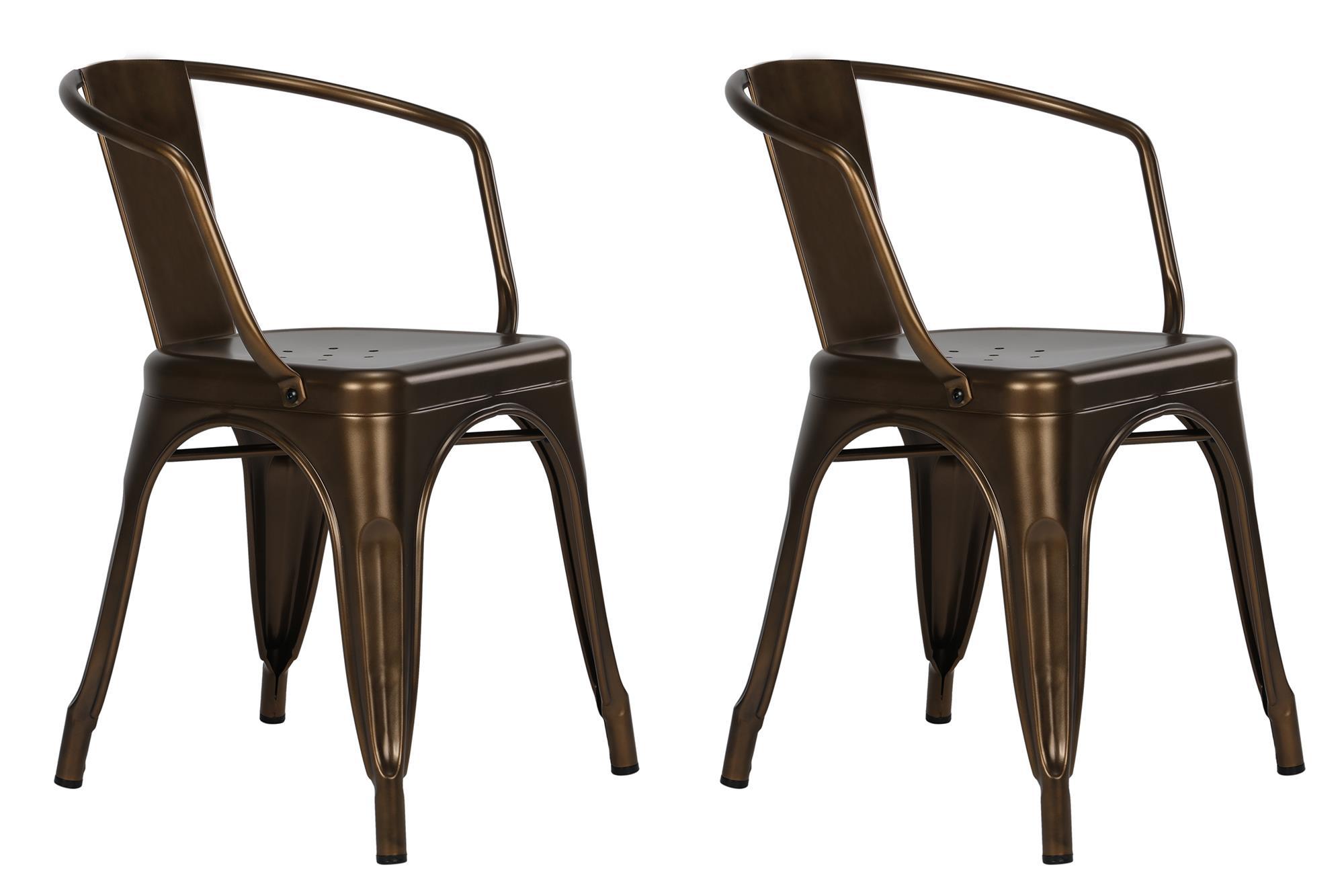 Dorel Home Furnishings Elise Antique Bronze Metal Dining Chair, Set of 2