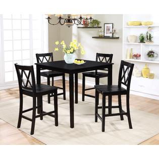 5 pc dining set Essential Home Dahlia 5 Piece Square Table Dining Set  Black 5 pc dining set