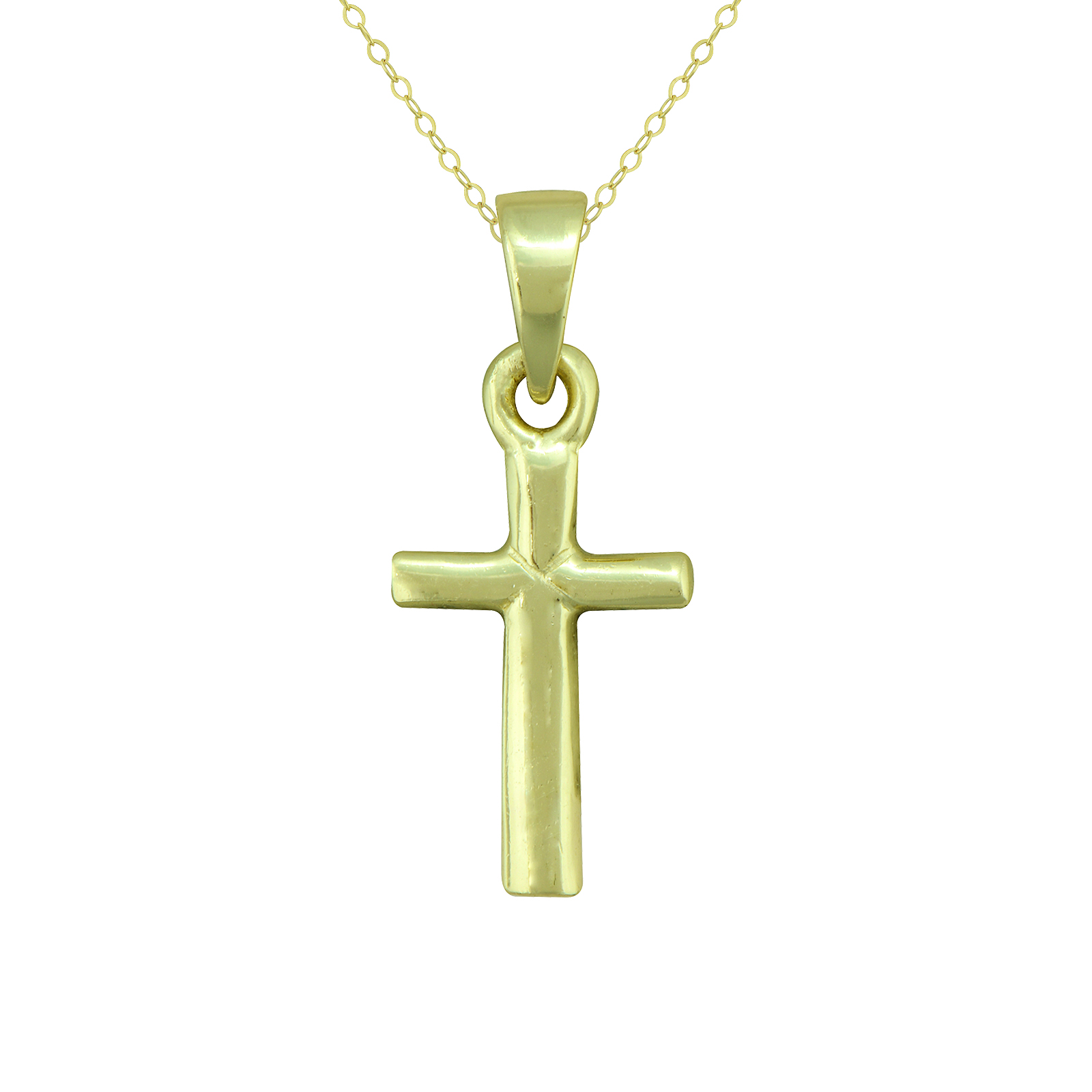 Gold over Silver Cross Pendant with 15