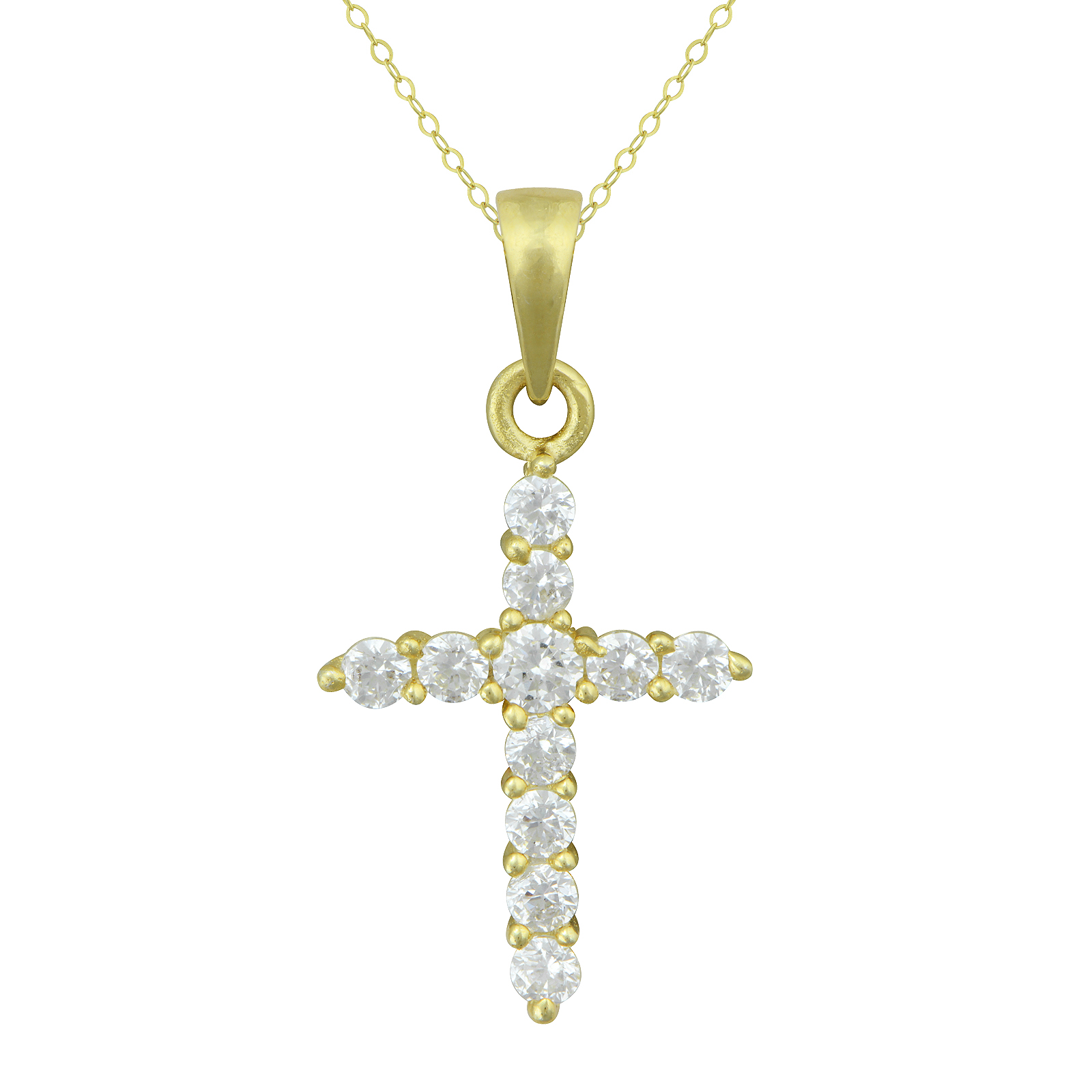 Gold over Silver Cubic Zirconia Cross Pendant with 15