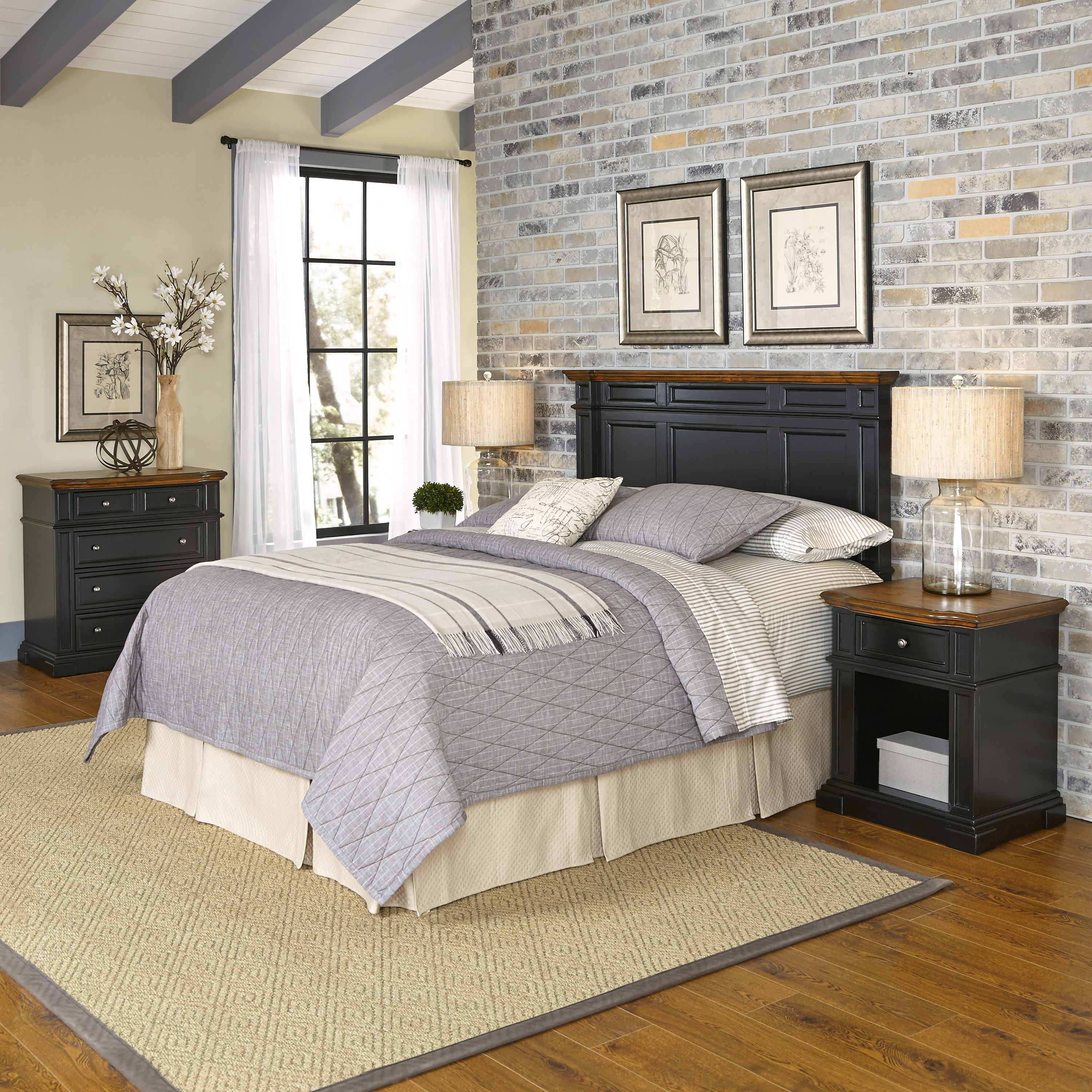 Home Styles Americana Queen/Full Headboard, Two Night Stands, and Chest