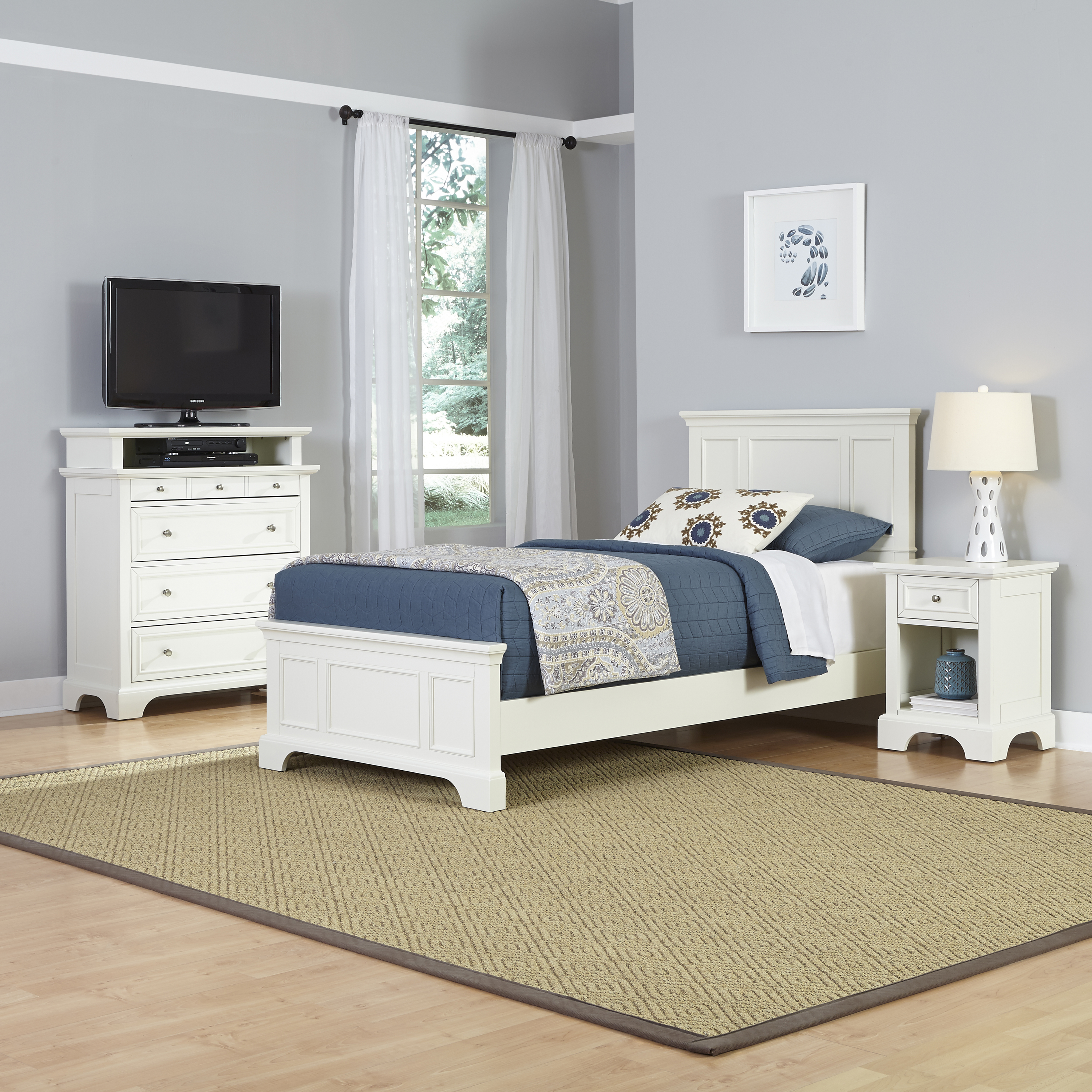 Home Styles Naples Twin Bed, Night Stand, and Media Chest