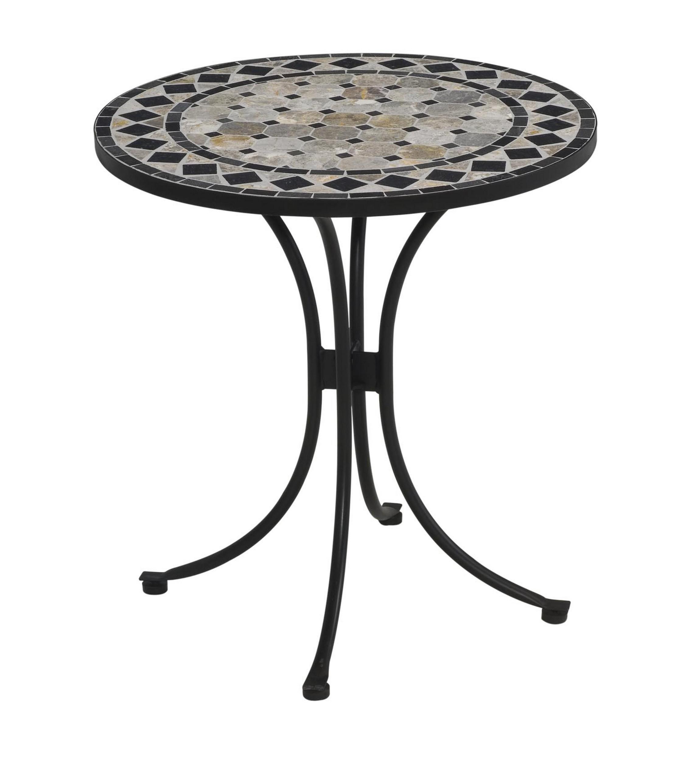 Tan and Black Tile Top Bistro Table