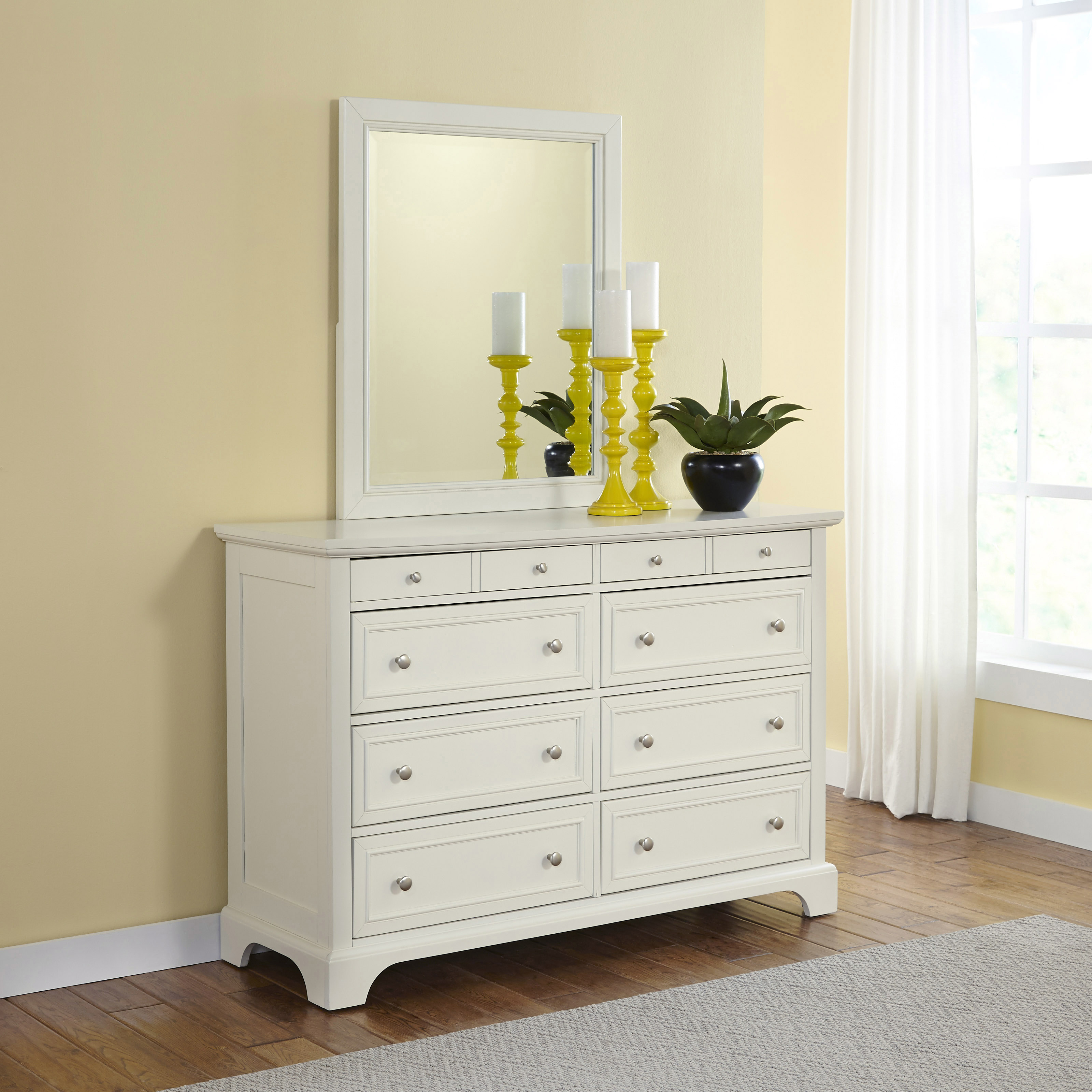 Home Styles Naples 8 Drawer Double Dresser And Mirror In White