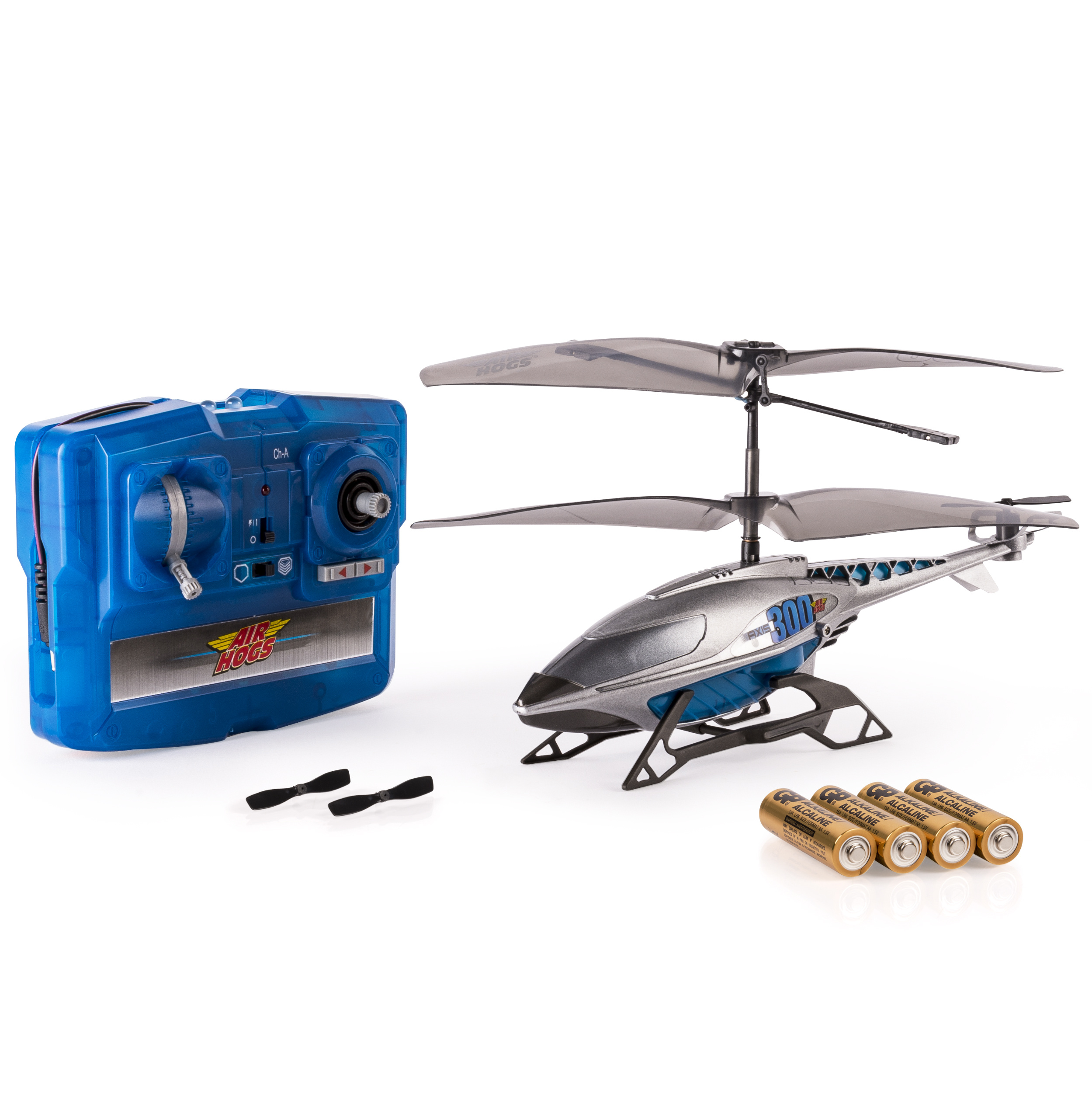 Air Hogs Axis 300x RC Helicopter With Batteries - Silver & Blue PartNumber: 004W008066272005P KsnValue: 004W008066272005 MfgPartNumber: 6023359