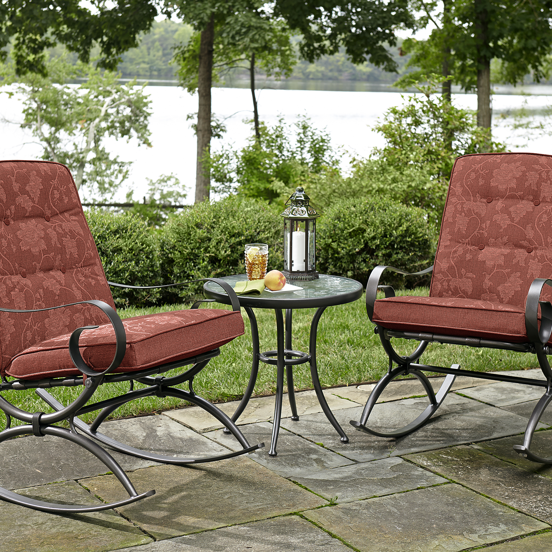 Jaclyn Smith Cora 3pc Rocker Bistro Red Outdoor Living Patio Furniture Small Space Sets