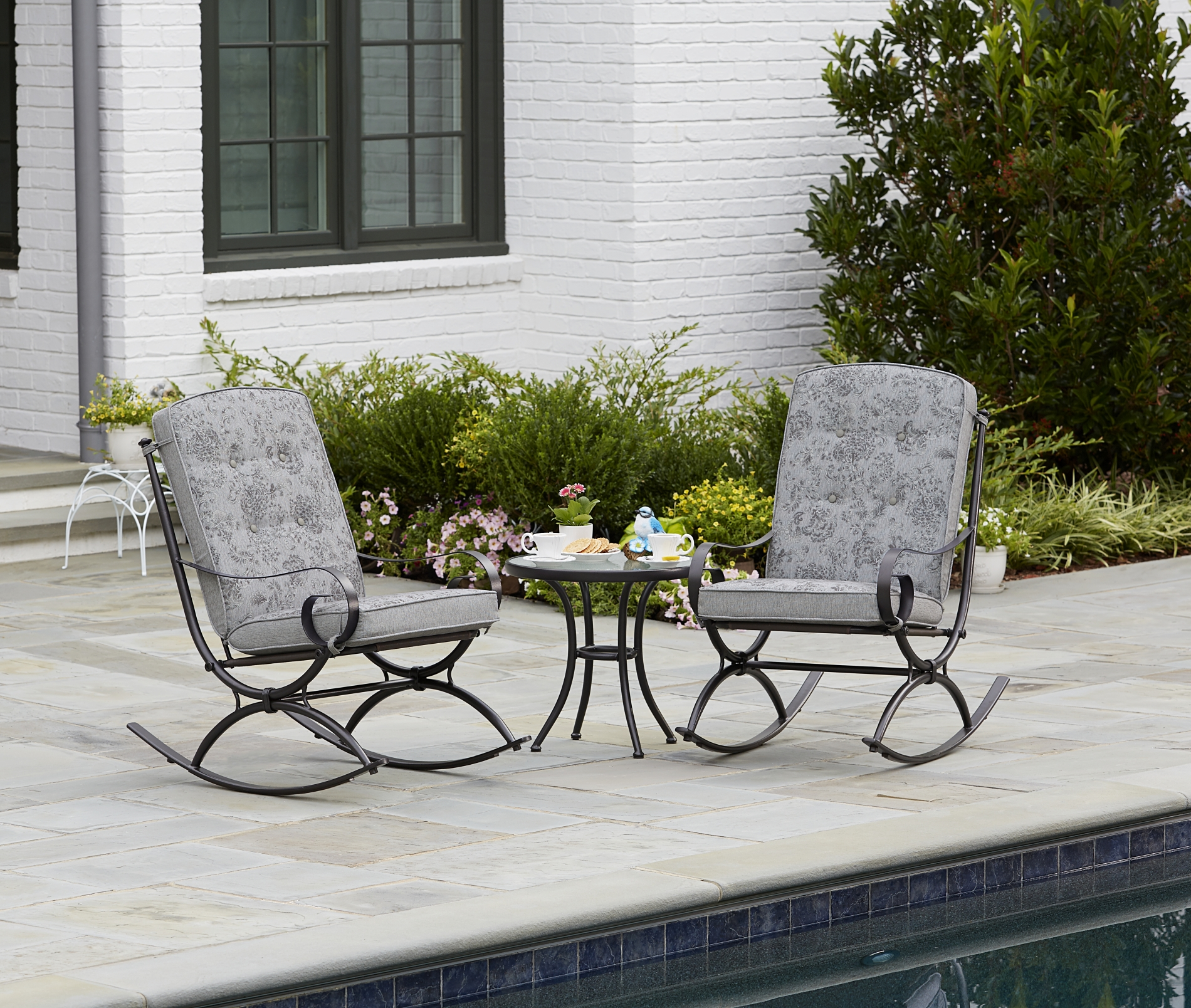 Jaclyn Smith Jaclyn Smith Centralia 3 Piece Rocking Patio Bistro Set   Gray  Reversible Cushion