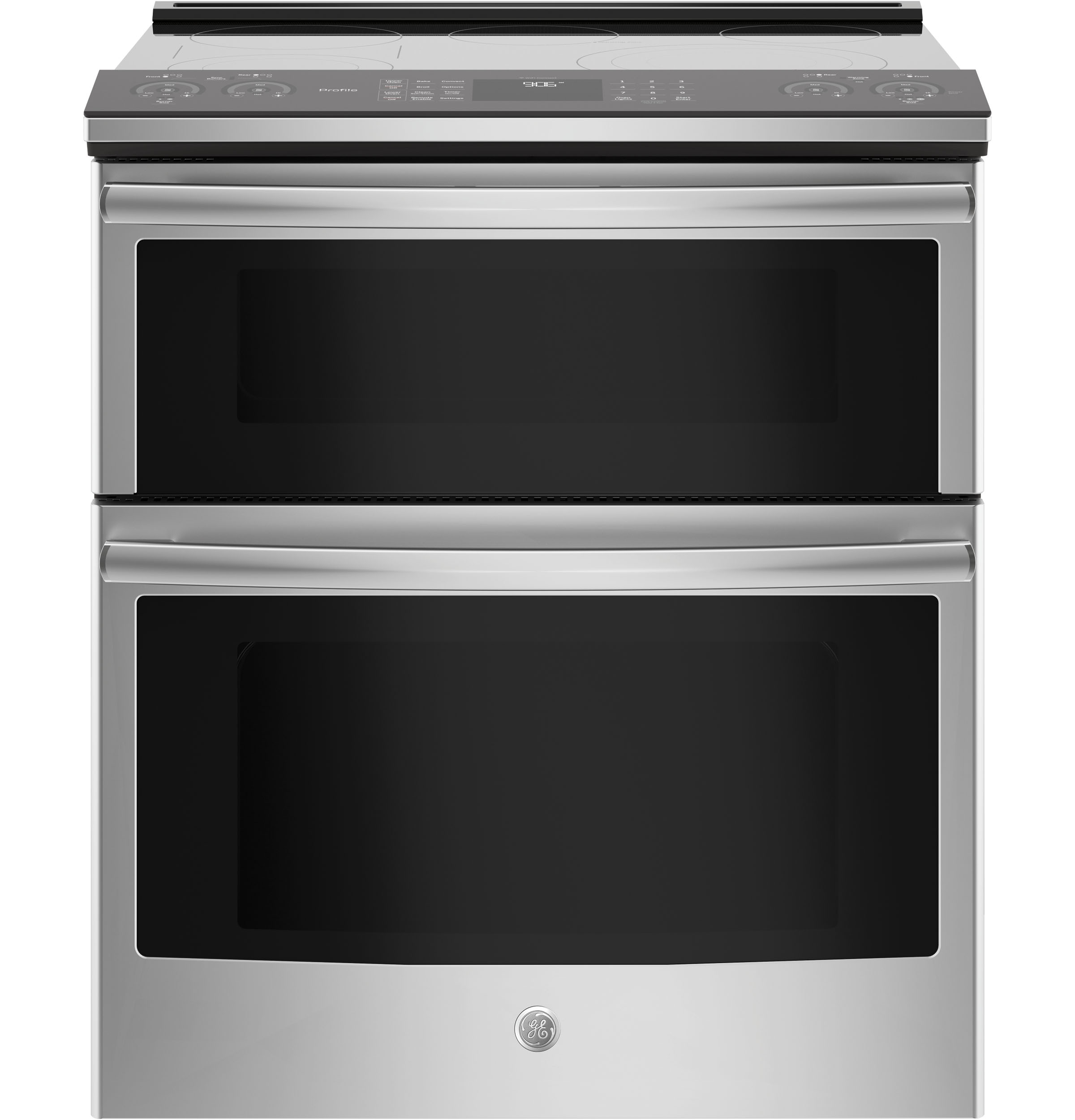 "Image of ""GE Profile Series PS960SLSS 30"""" Slide-In Electric Double Oven Convection Range - Stainless Steel, Stainless steel"""