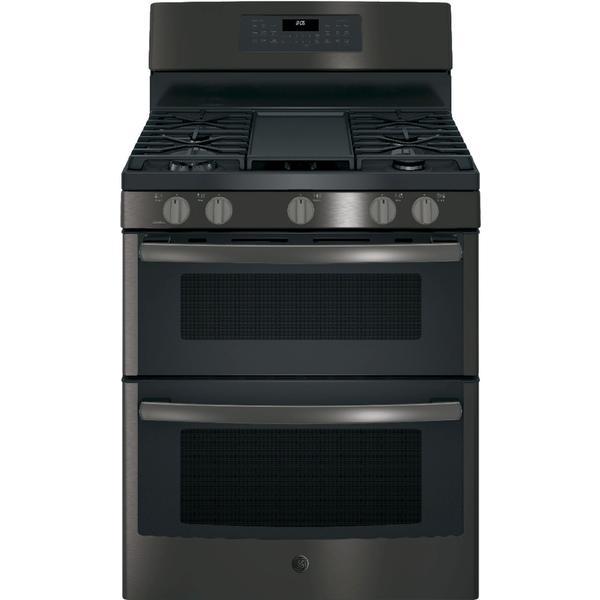 GE Appliances JGB860BEJTS 6.8 cu. ft. Freestanding Gas Double Oven Convection Range - Black SS