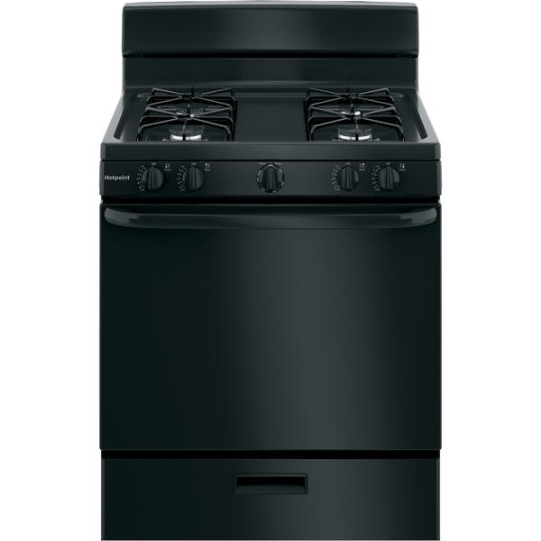"Hotpoint RGBS300DMBB 30"" Free-Standing Gas Range - Black"