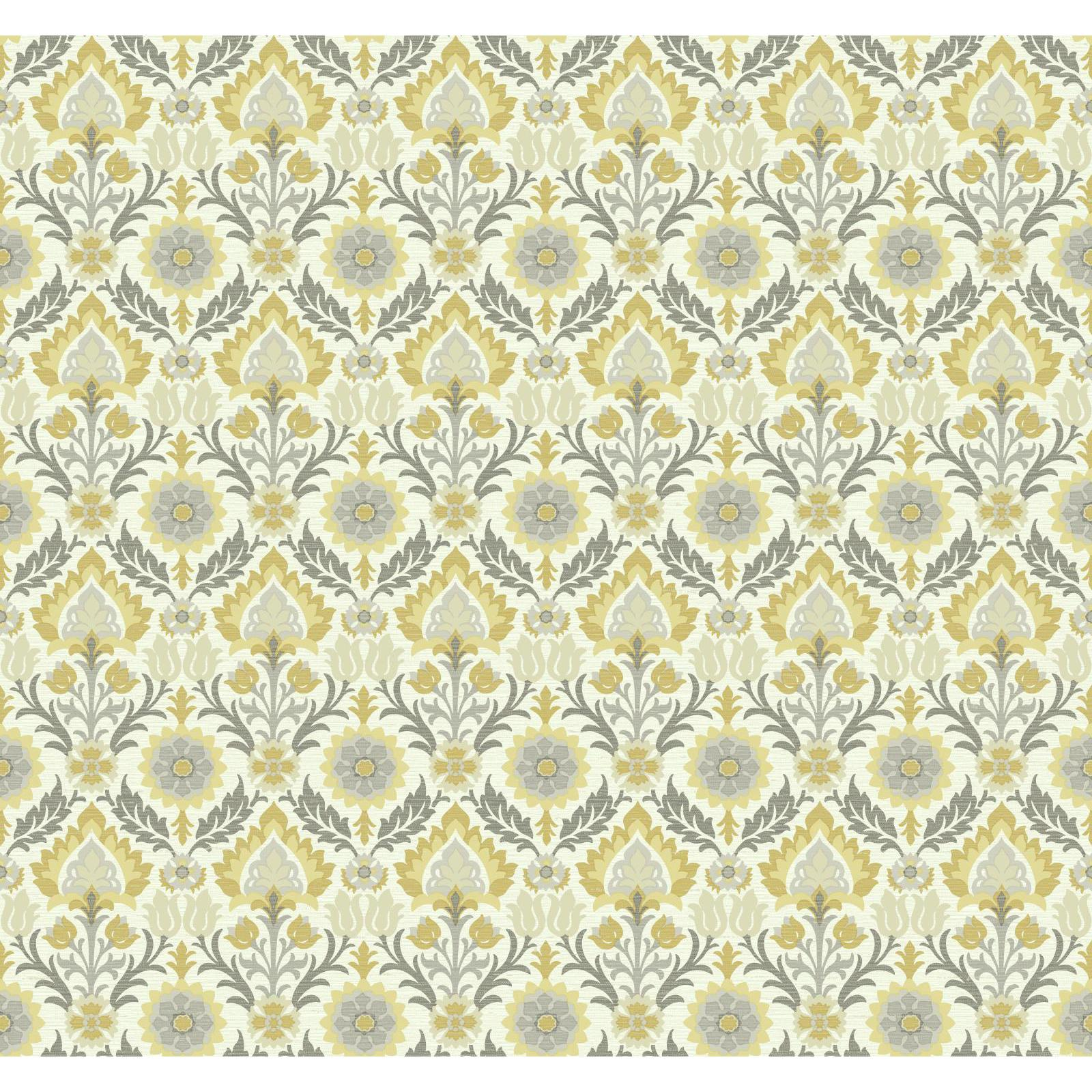 York Wallcoverings Waverly Small Prints Santa Maria Wallpaper, Ivory/Mustard Yellow/Muted Buttercup Yellow/Pale Grey/Medium Grey/Dark Grey/Beige 00921563000