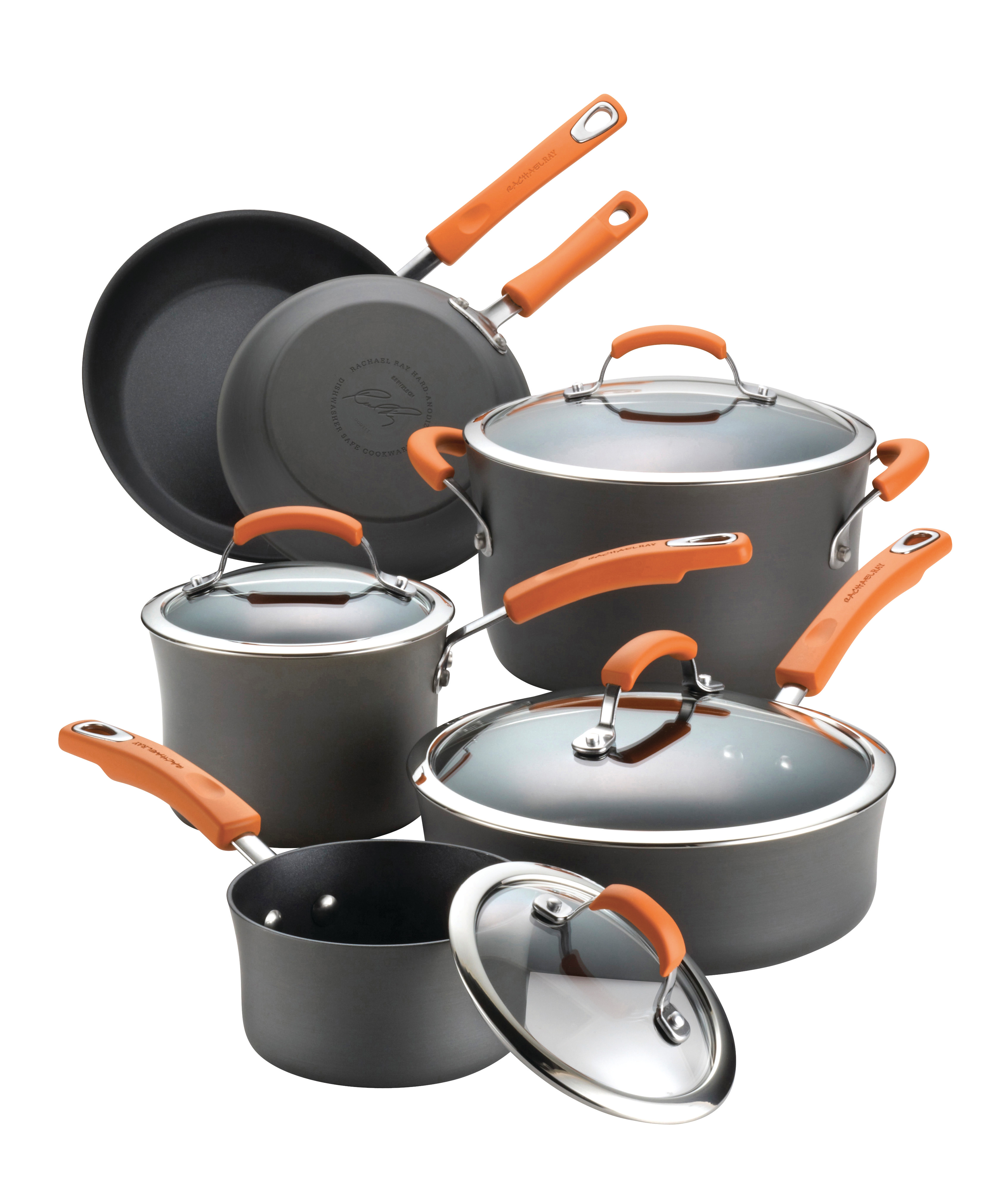 Rachael Ray Hard-Anodized II 10-Piece Cookware Set, Gray with Orange Handles PartNumber: 00820438000P