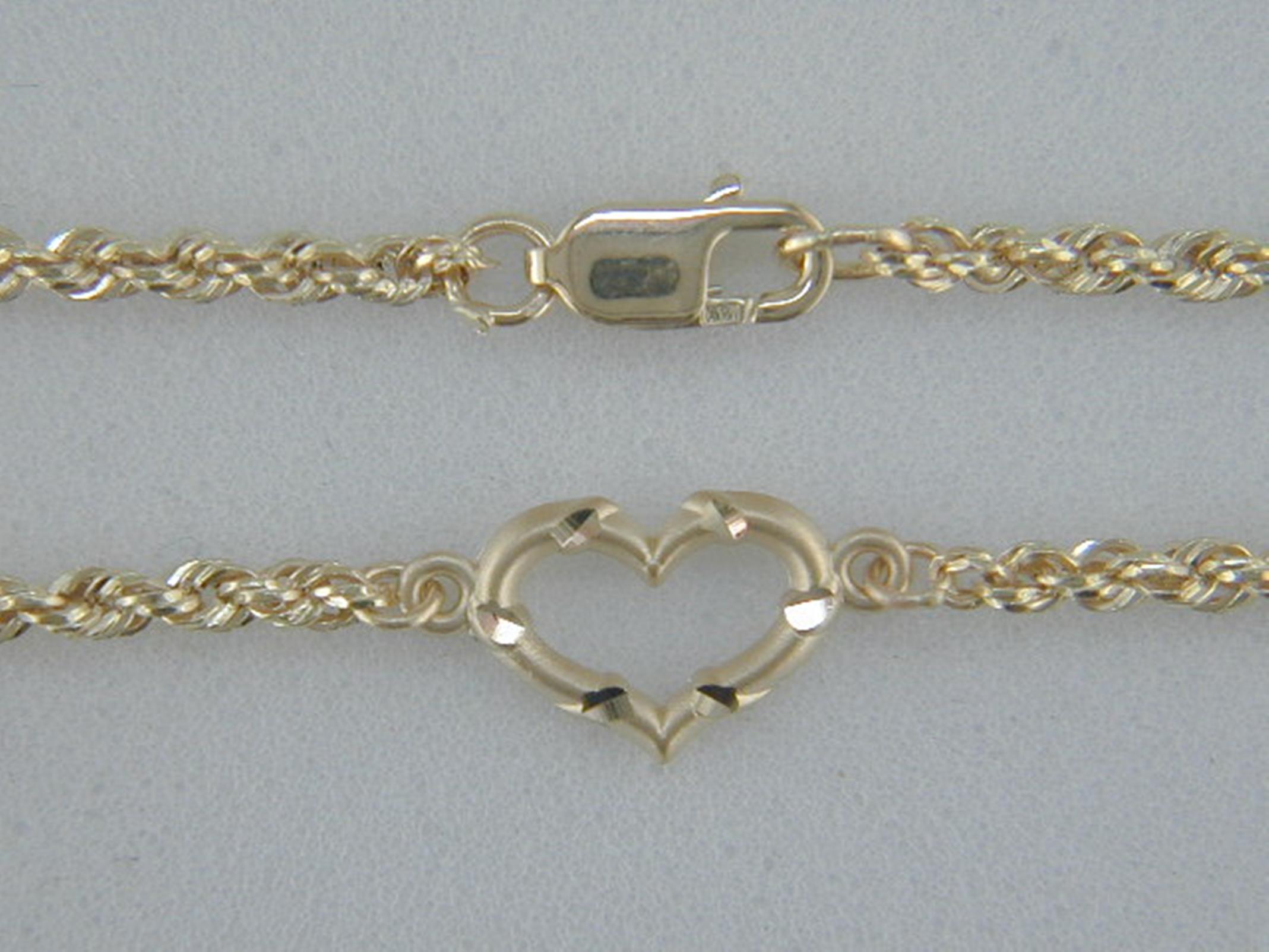 True Gold 14kt Open Heart with Rope Bracelet