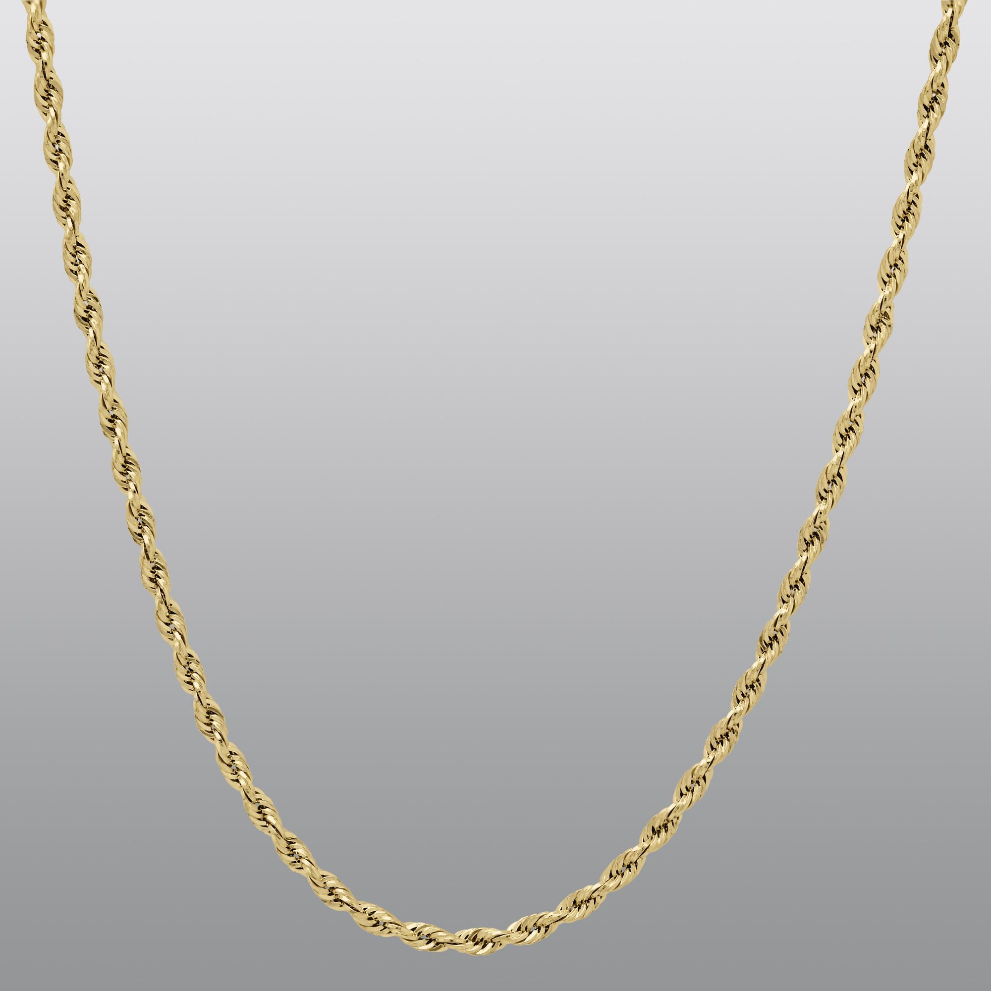 True Gold 14K 1.7M Glitter Rope Chain, 24