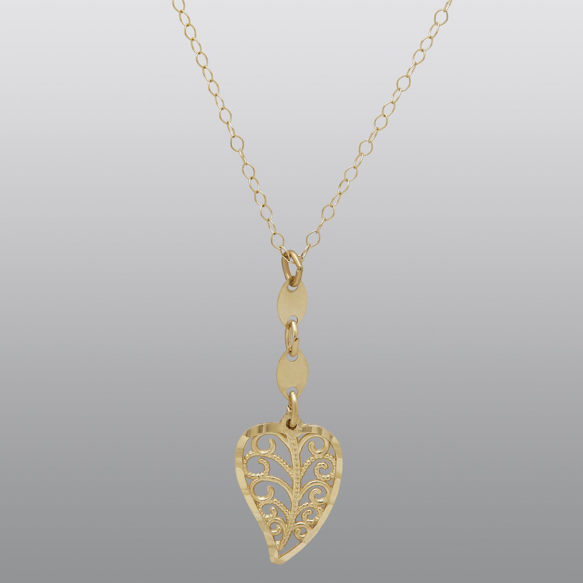 10K Diamond Cut Filigree Heart Drop Necklace