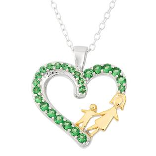 Genuine Emerald Mother's Love Heart Pendant, Sterling Silver Two Tone