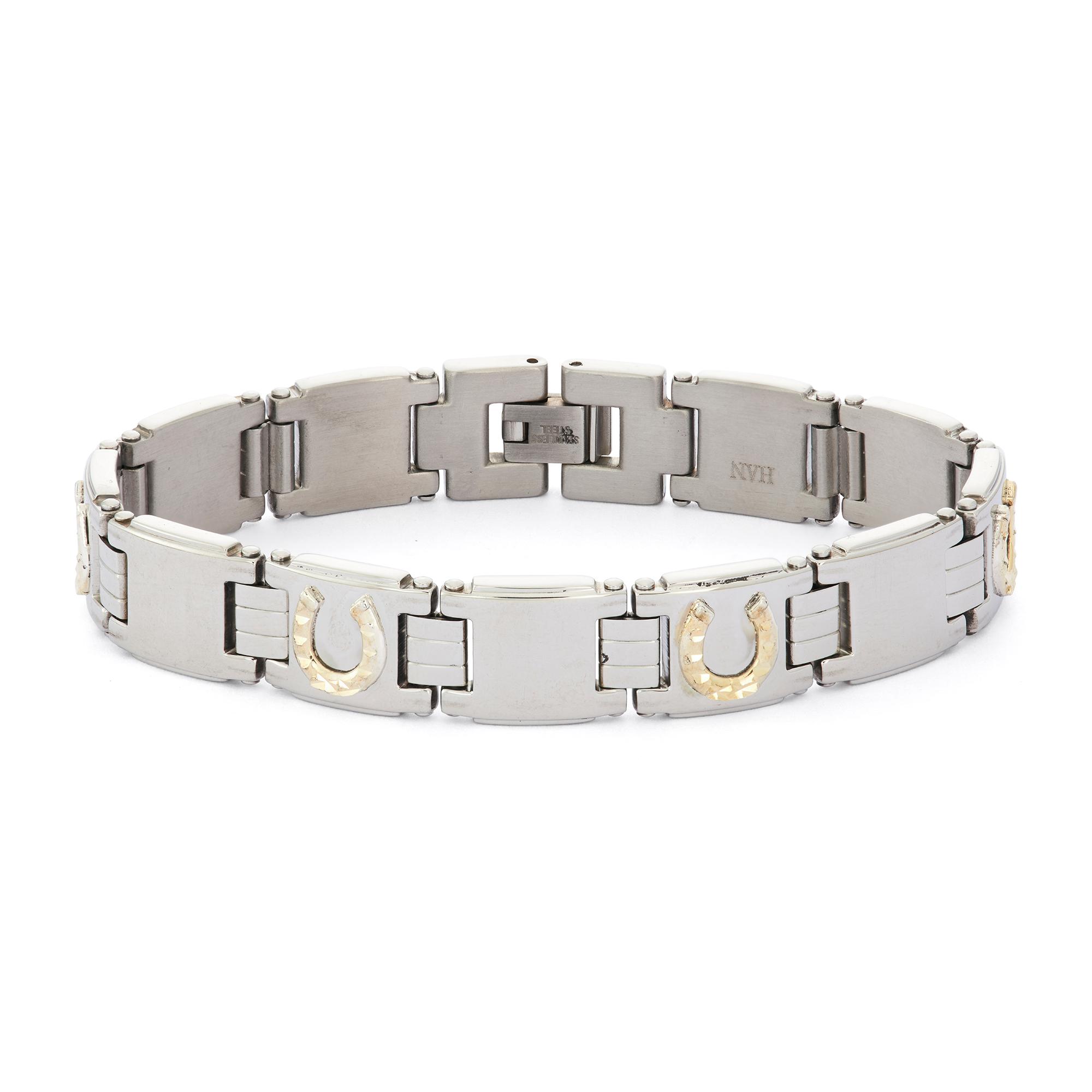 Stainless Steel Two-Tone Horseshoe Bracelet