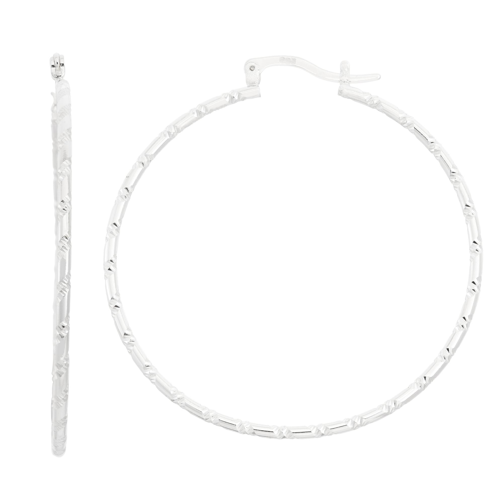 Sterling Silver over Brass 51x2mm Diamond Cut Hoop Earrings