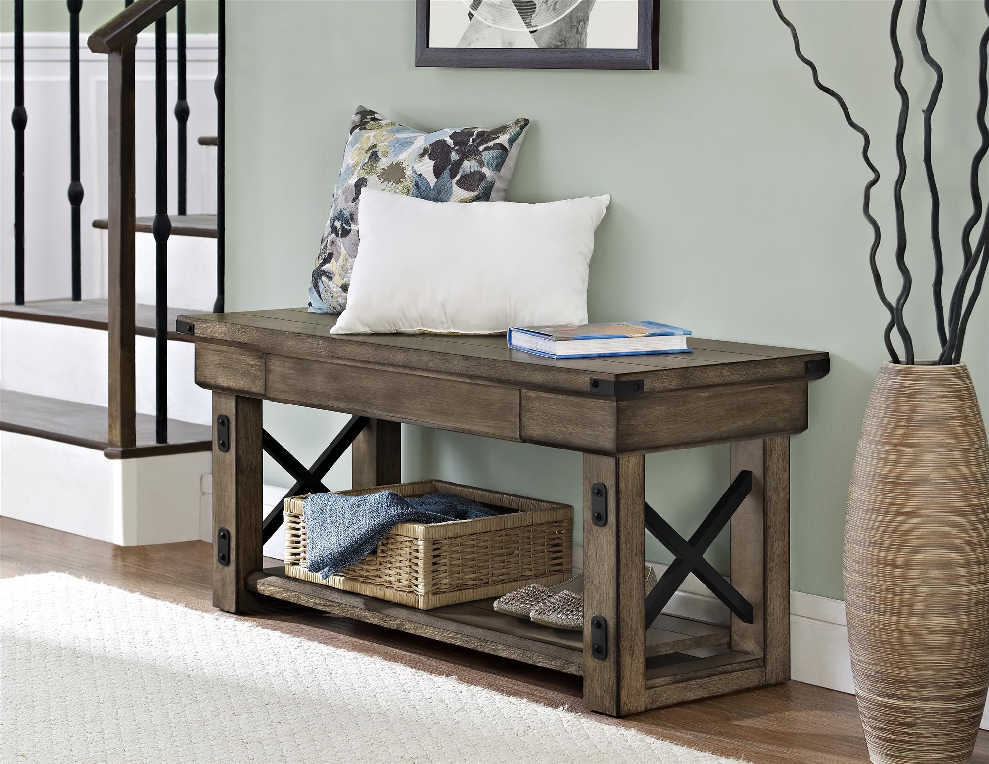 Dorel Home Furnishings Dorel Wildwood Rustic Gray Entryway Bench PartNumber: 00865143000P KsnValue: 00865143000 MfgPartNumber: 5054096PCOM