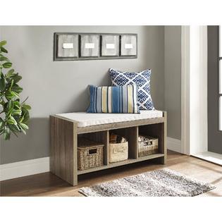 Dorel Home Furnishings Penelope Sonoma Oak Entryway Storage Bench With Cushion 1