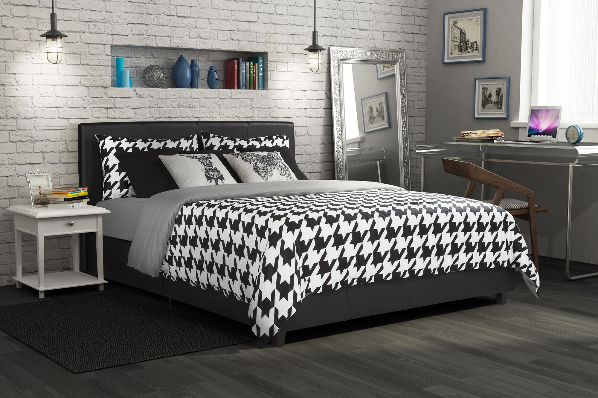 Dorel Home Furnishings Maddie Black Queen Faux Leather Upholstered Bed