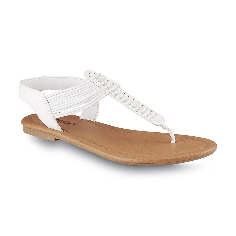 Bongo Women's Ellie White Stretch Thong Sandal