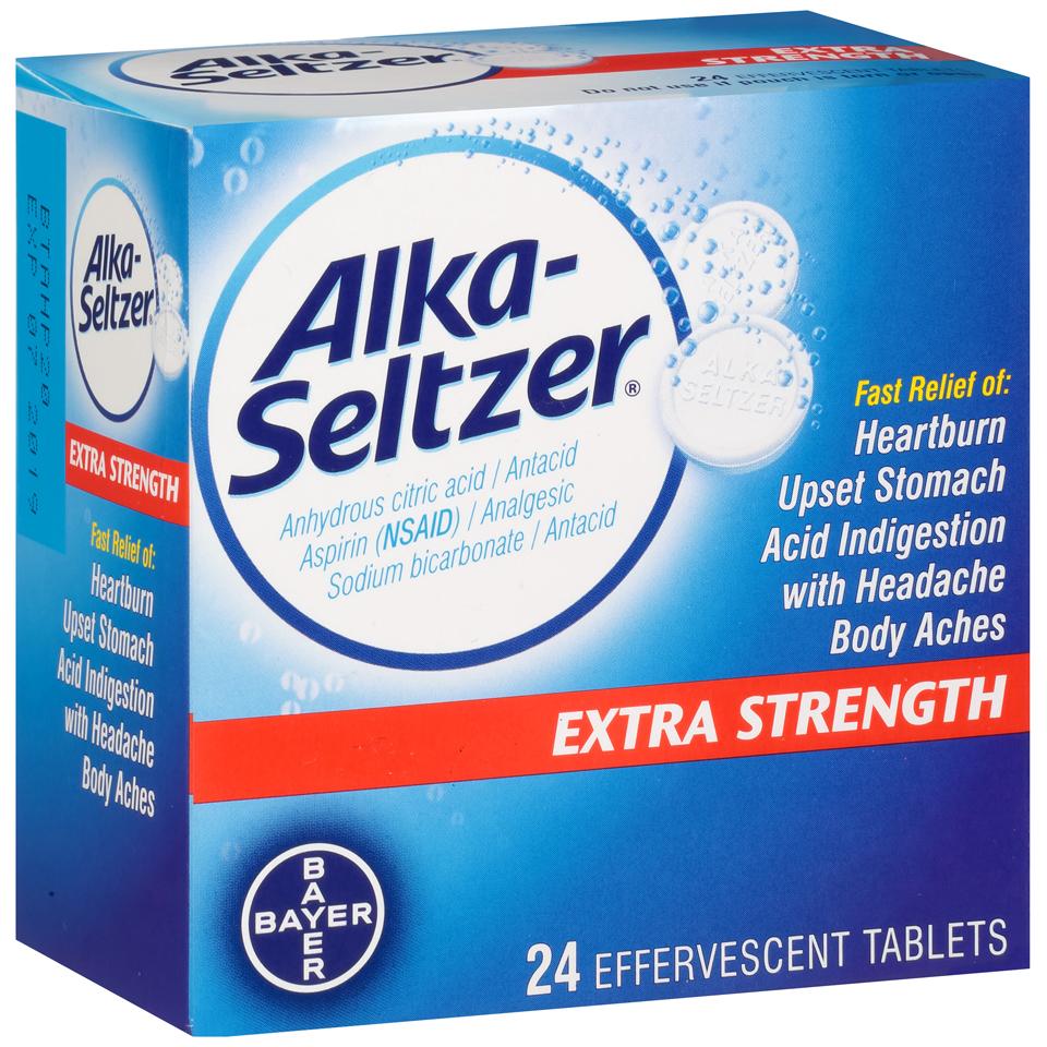 Alka-Seltzer Extra Strength Antacid/Analgesic Effervescent Tablets , 24 ct Box im test