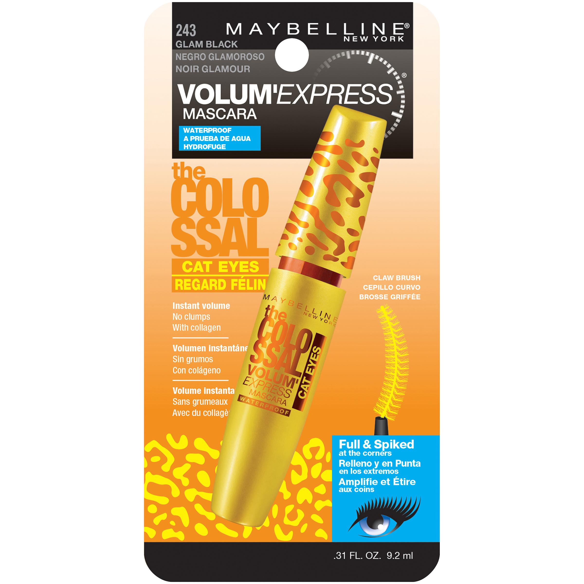 Maybelline New York Volum' Express The Colossal Cat Eyes Mascara, Washable - Glam Black