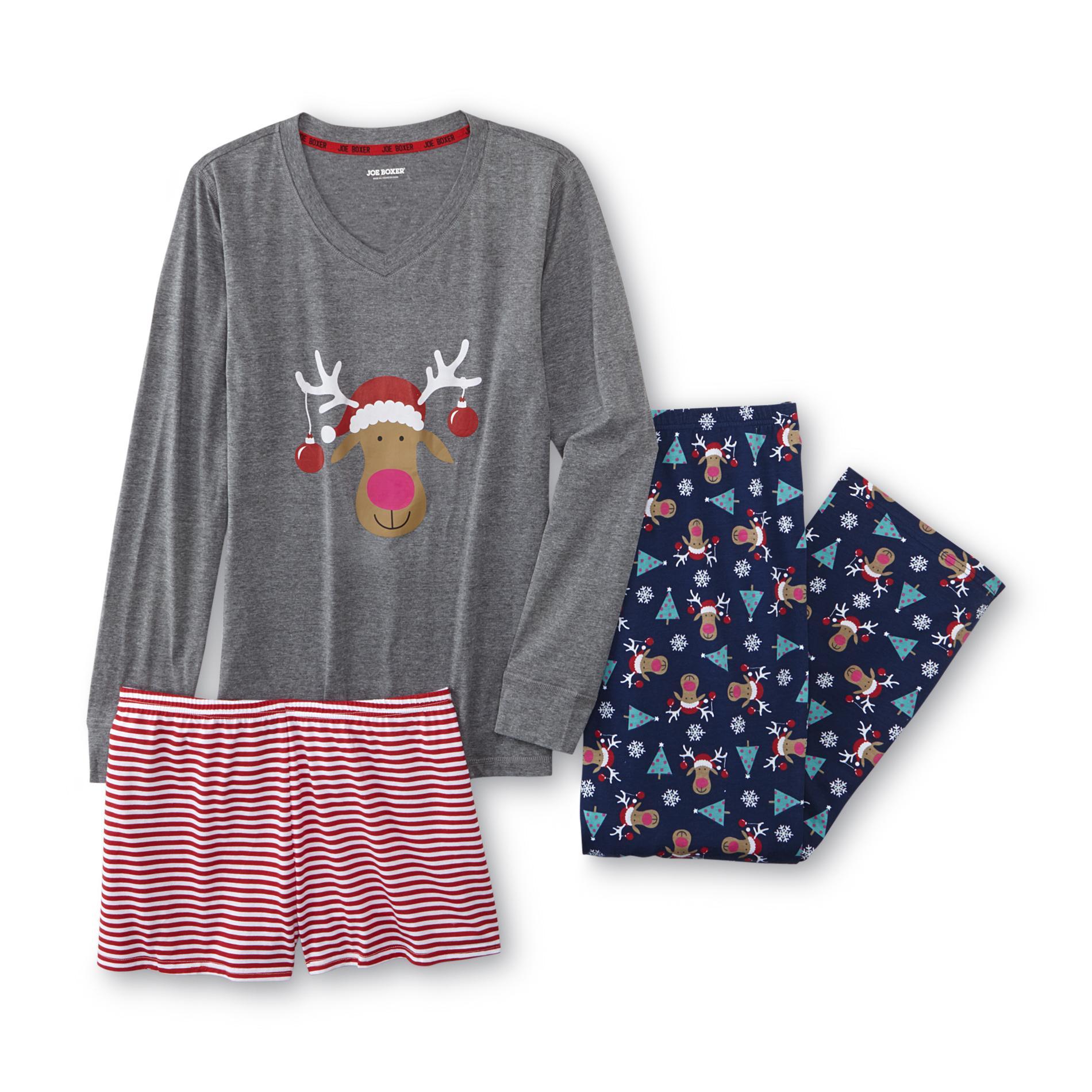 Joe Boxer Junior's Plus Christmas Pajama Top Pants & Shorts - Reindeer