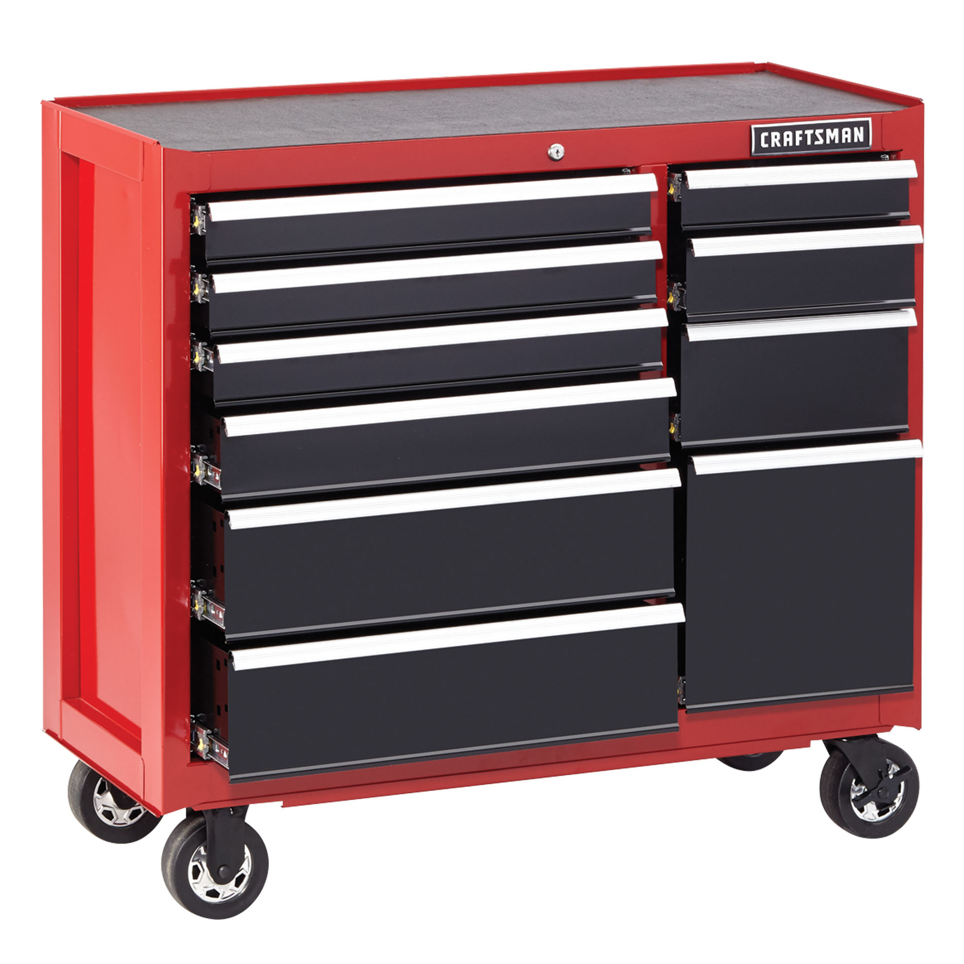 "Craftsman 41"""" 10-Drawer Heavy-Duty Rolling Cart - Red"