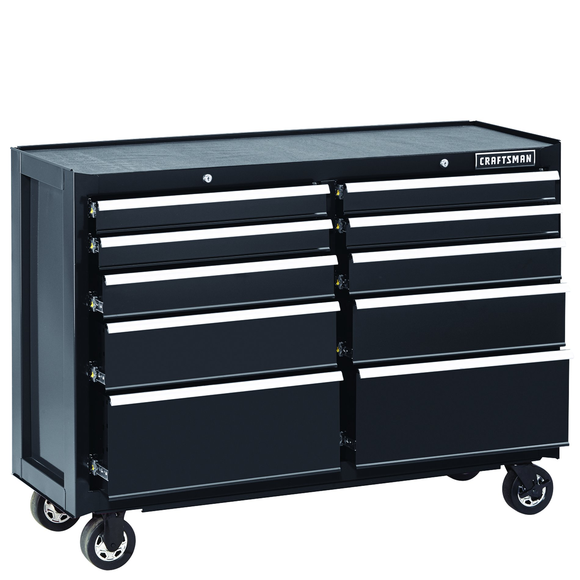 "Craftsman 52"""" 10-Drawer Heavy-Duty Rolling Cart - Black"