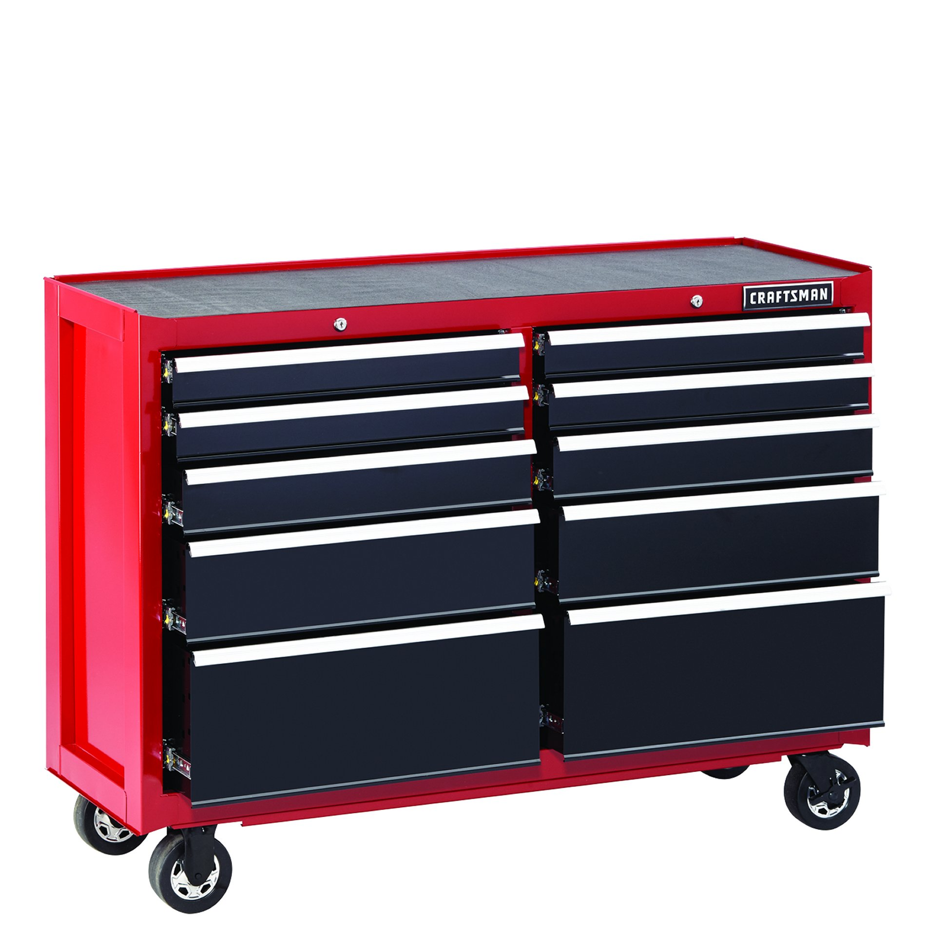 "Craftsman 52"""" 10-Drawer Heavy-Duty Rolling Cart - Red"