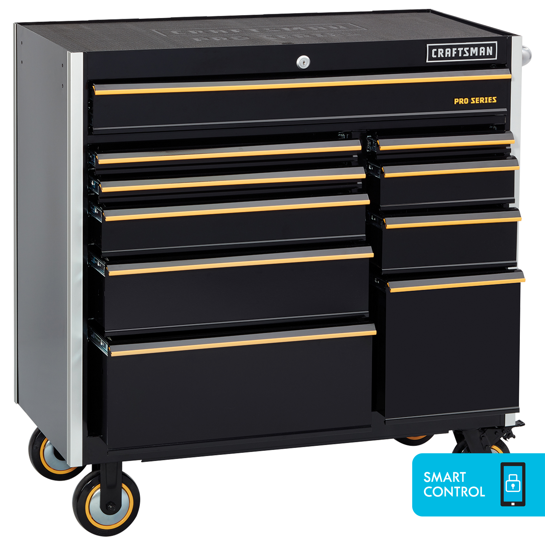 "Craftsman ProSeries 41"""" 10-Drawer Rolling Cart with Smart Control - Black"