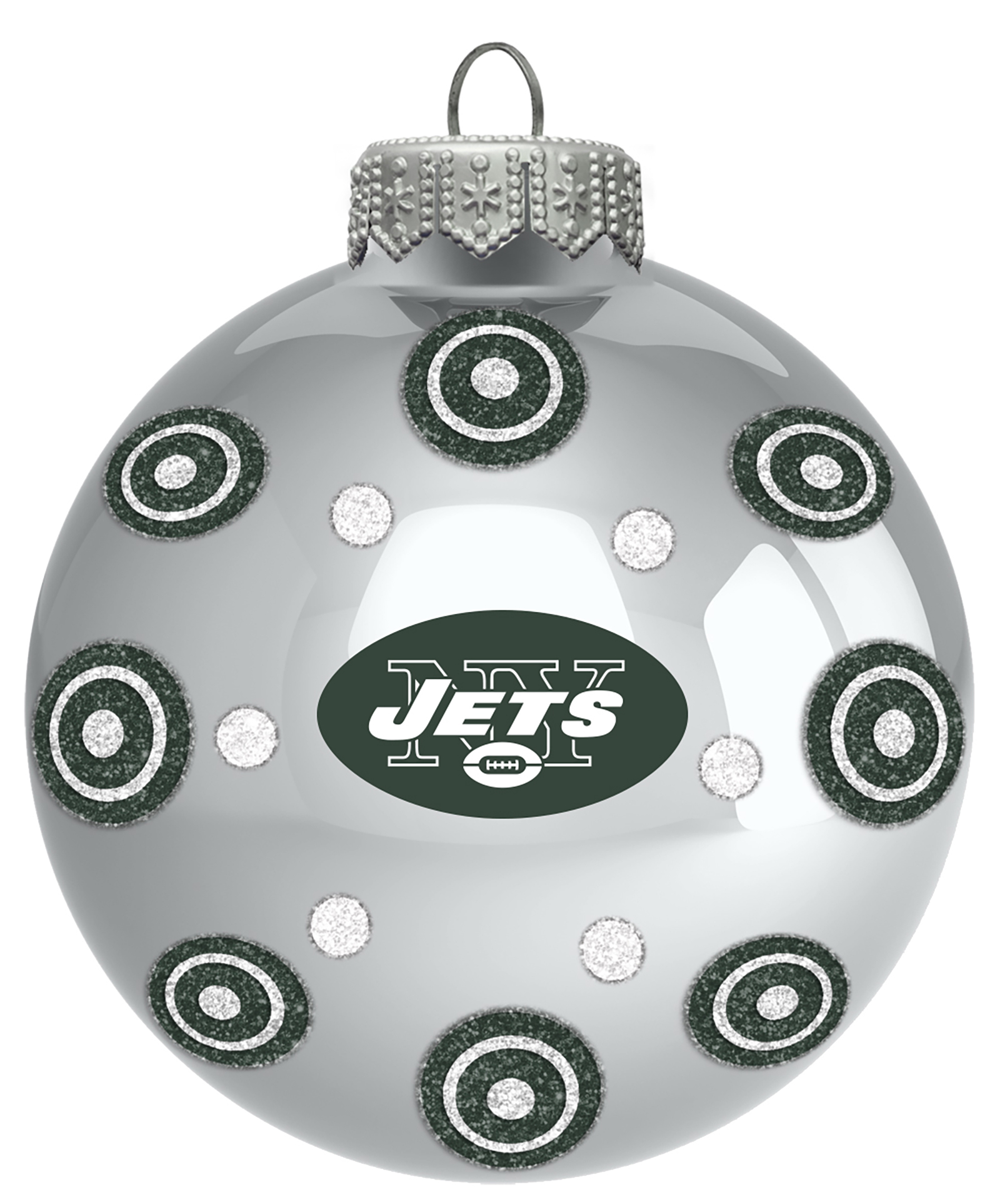 NFL Ball Ornament w/ Dots - New York Jets PartNumber: 046W008611098001P KsnValue: 046W008611098001 MfgPartNumber: NHL-SLB-1885K5
