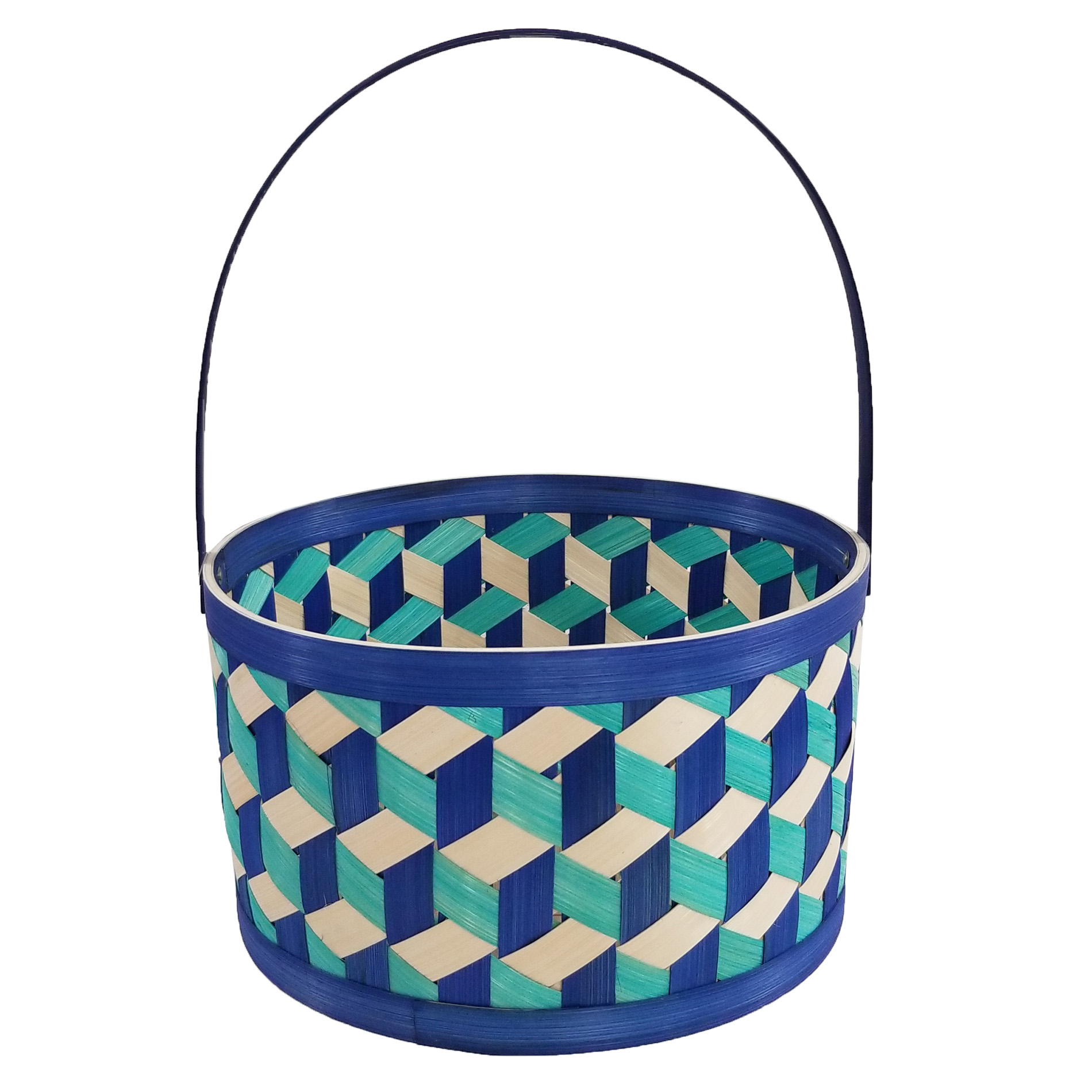 Easter Jubilee Blue Round Bamboo basket Assorted Sizes im test