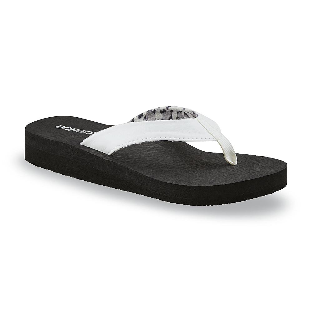Bongo Women's Zen White/Black Wedge Flip-Flop