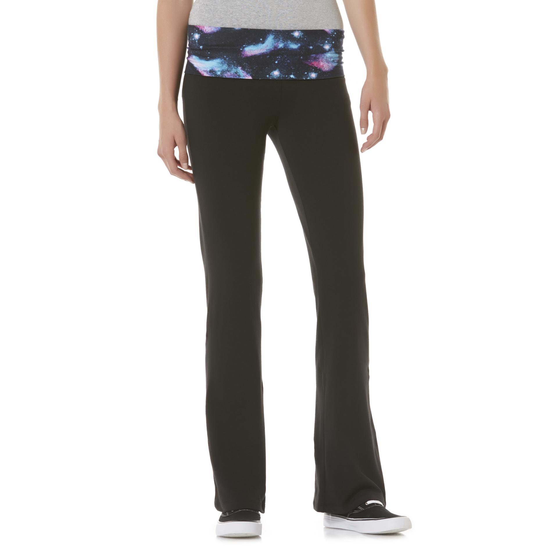 Junior's Fold-Over Bootcut Yoga Pants - Galaxy